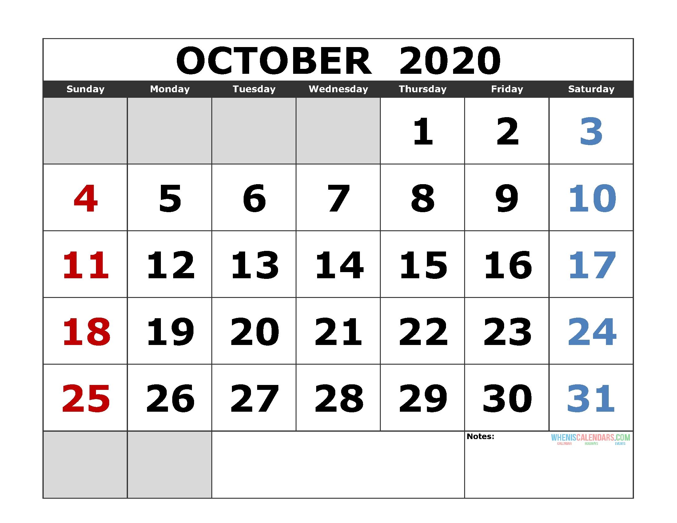 October 2020 Printable Calendar Template Excel, Pdf, Image-Printable Jewish Calendar For October 2020 With Holidays