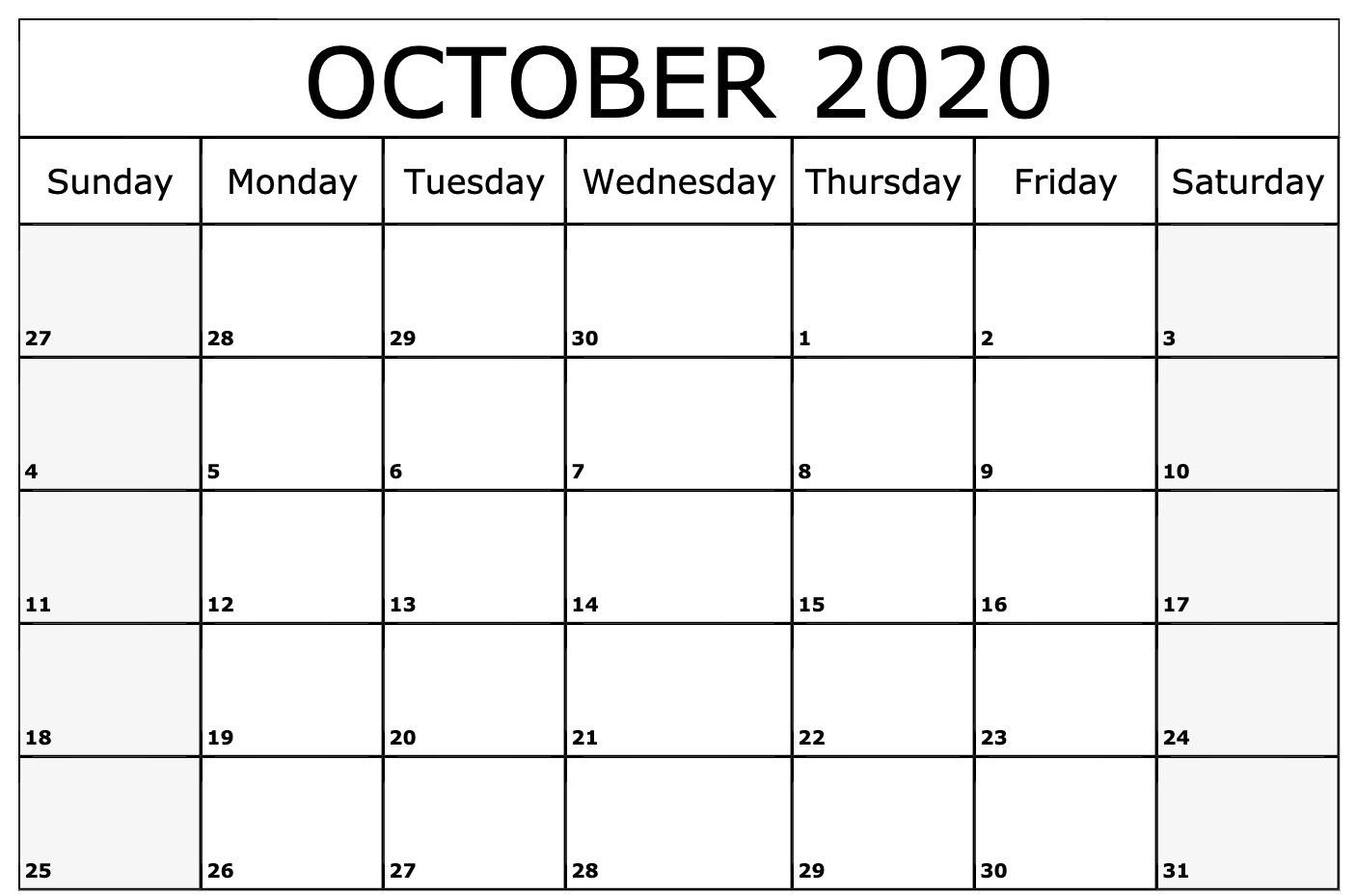 October Calendar 2020 | Calendar 2020-Free Printable Blank October 2020 Calendar Jewish Holidays