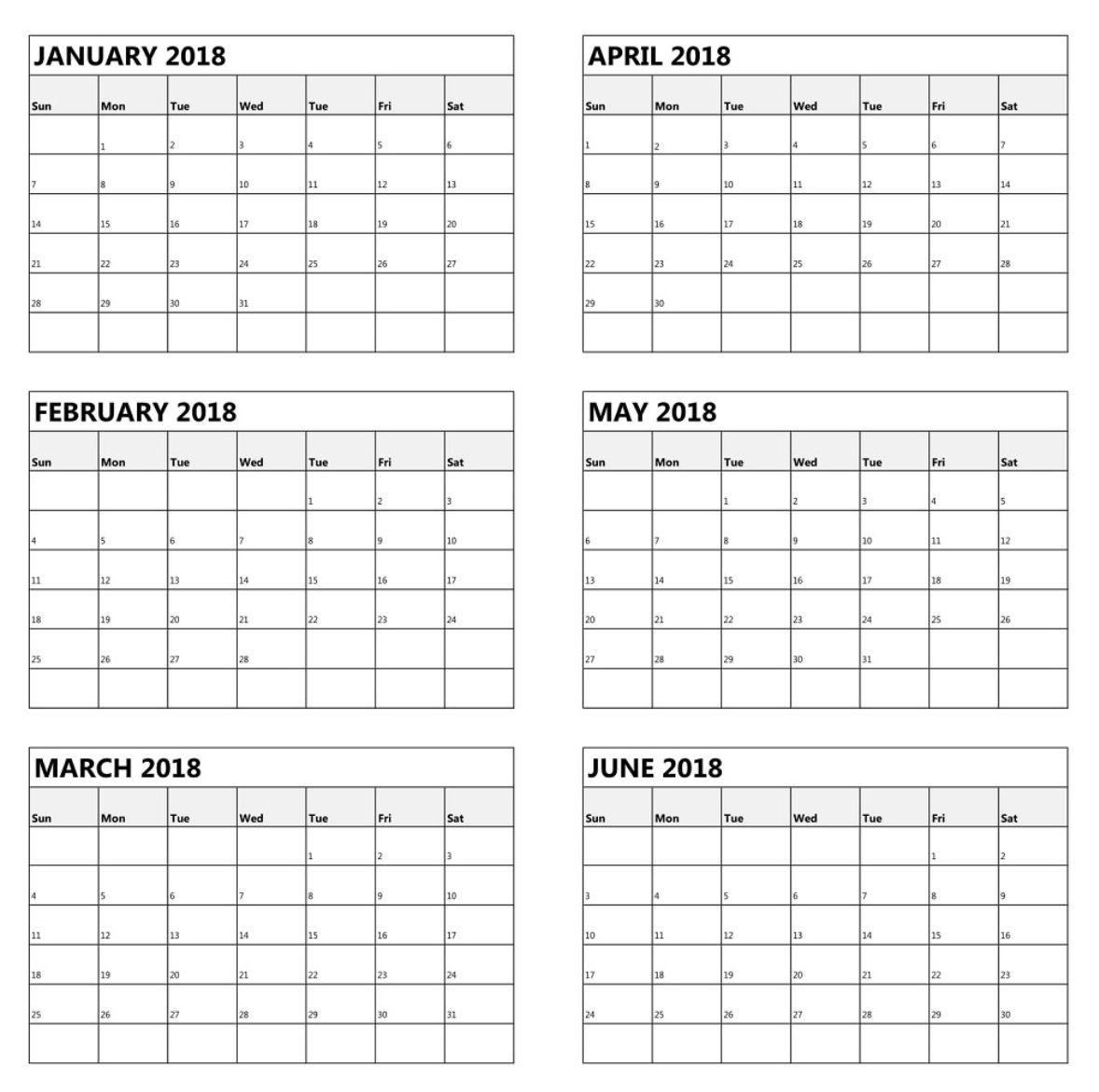 One Page 6 Month Calendar 2018 | Latest Calendar | Calendar-Calendar Blanks 6 Months