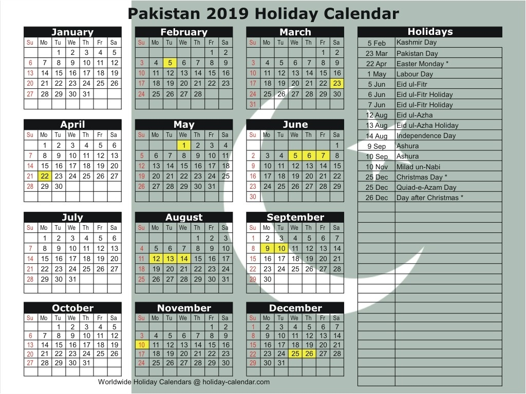 Pakistan 2019 / 2020 Holiday Calendar-2020 Calendar Muslim Holidays