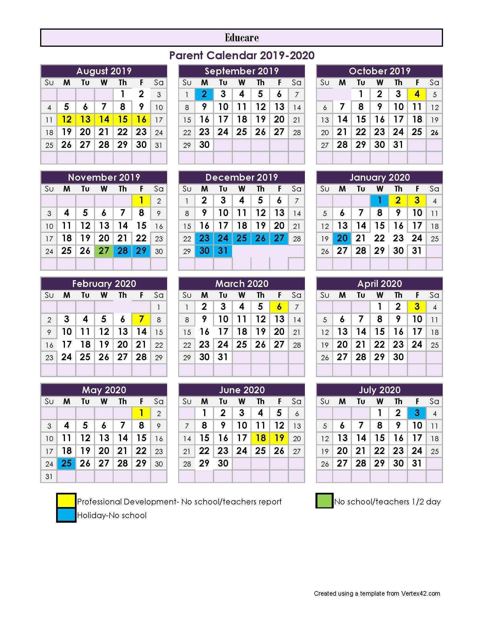 Parent Calendar - 2017-2018-January 2020 School Calendar