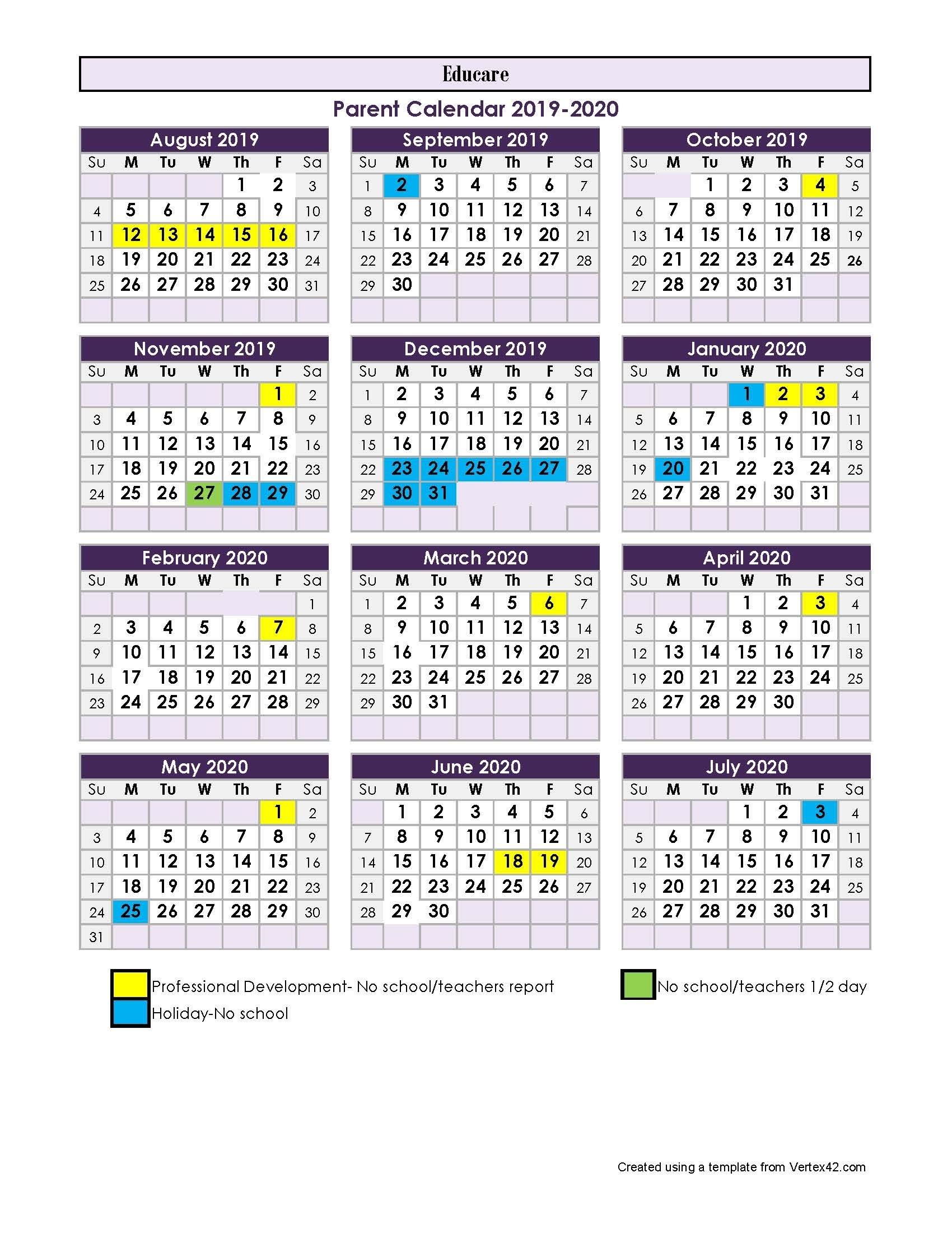 Parent Calendar - 2017-2018-January 2020 School Calendar