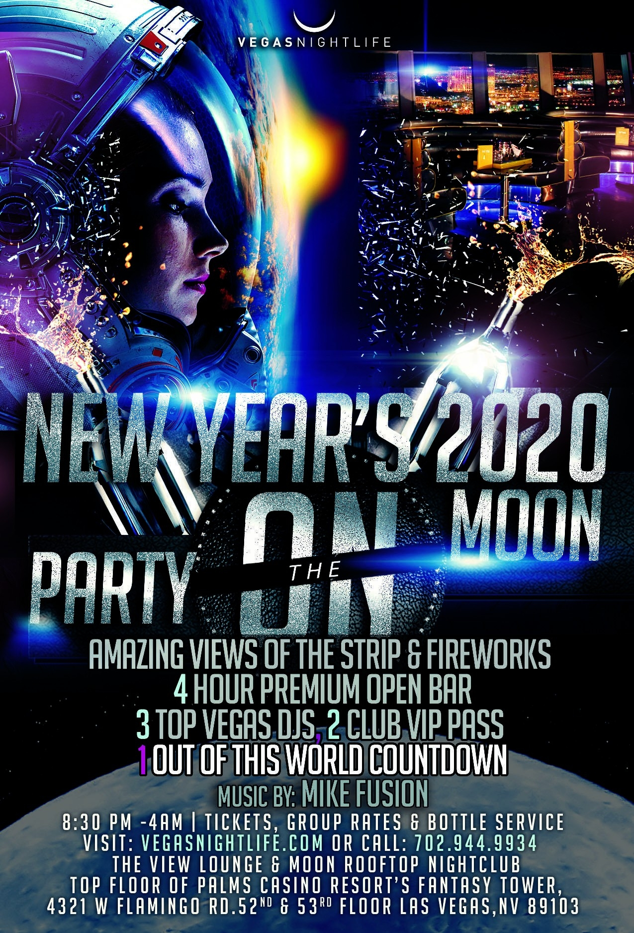 Party On The Moon - Las Vegas New Year's Eve 2020 • Gongago-Las Vegas Event Calendar January 2020