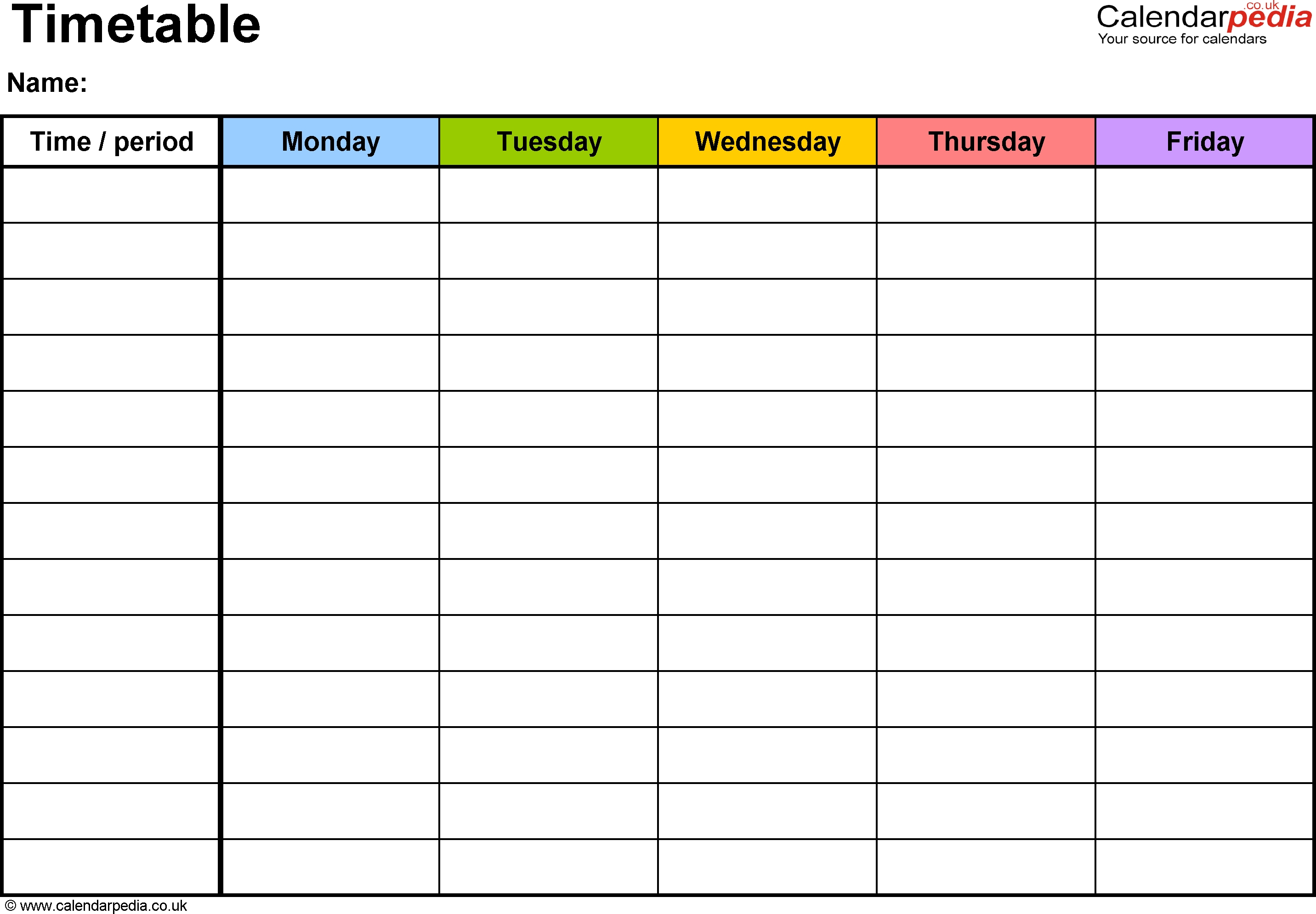 Pdf Timetable Template 2: Landscape Format, A4, 1 Page-One Week Monday Through Friday Calendar Template