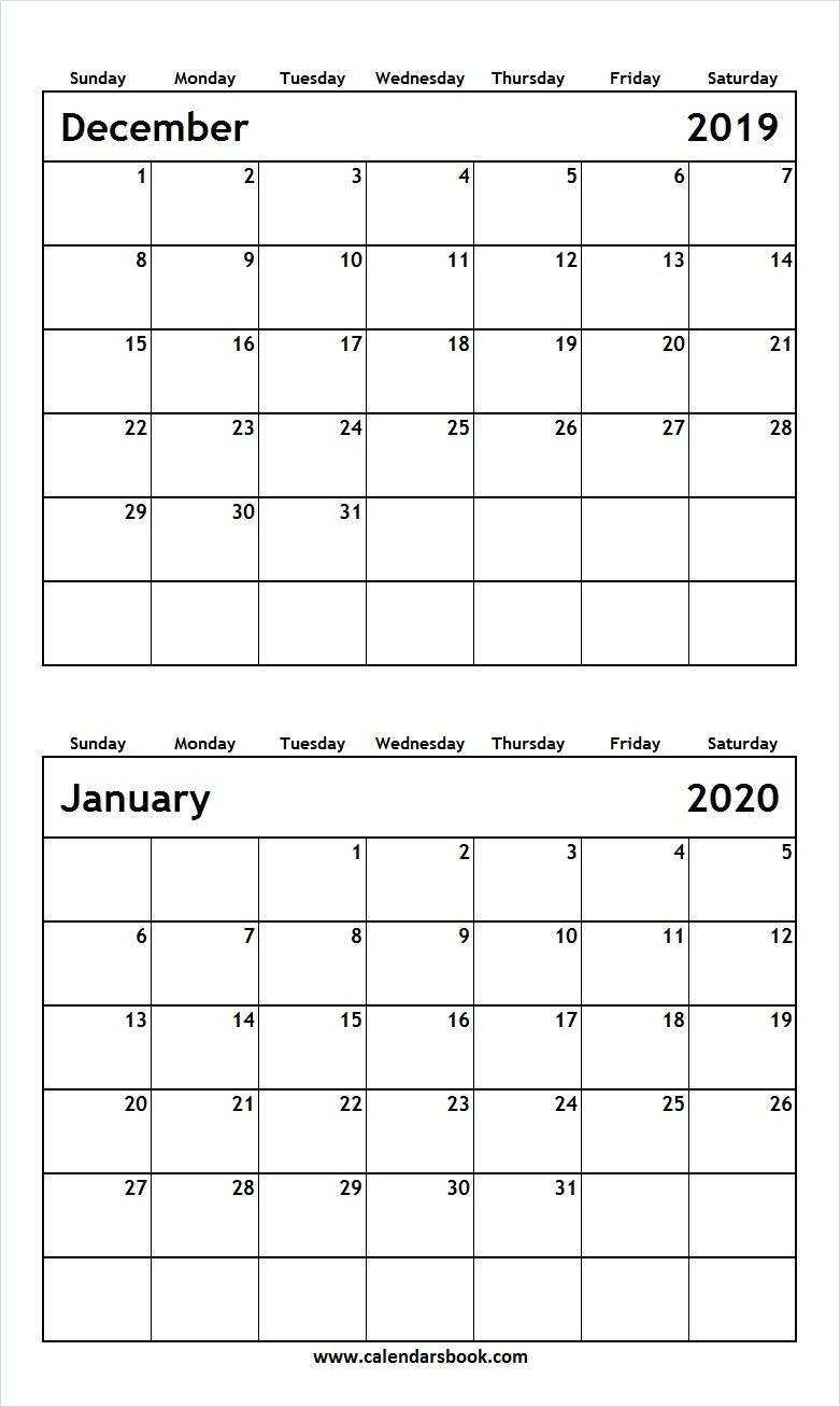 Perfect December 2019 To January 2020 Calendar * Calendar-January 2020 Calendar Waterproof