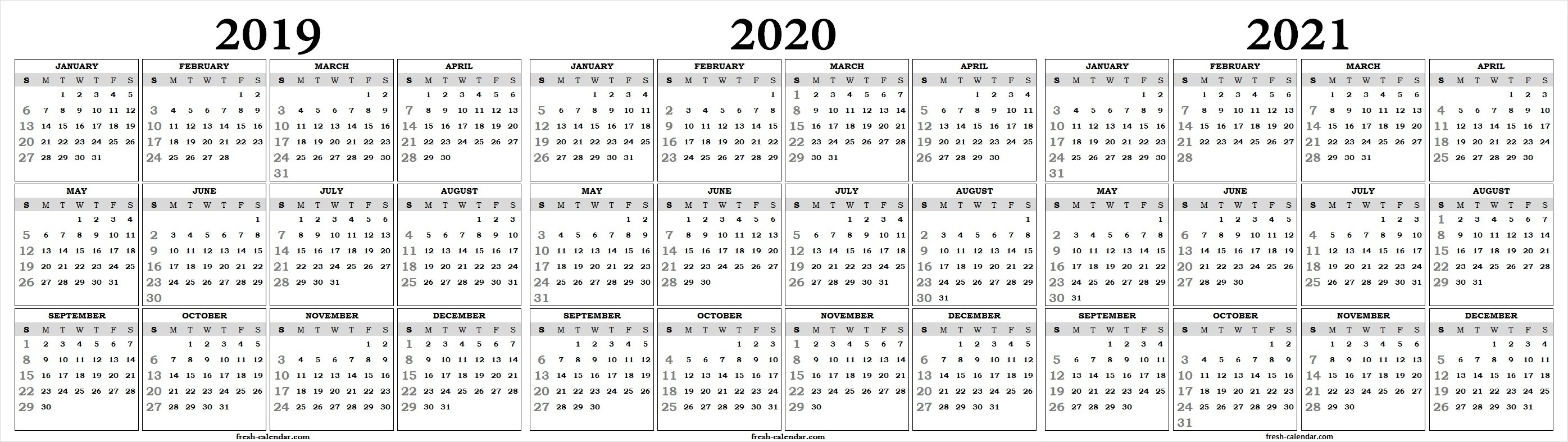 Perky 2020 Yearly Calendar One Page • Printable Blank-Blank 2020-20 Calendar Printable