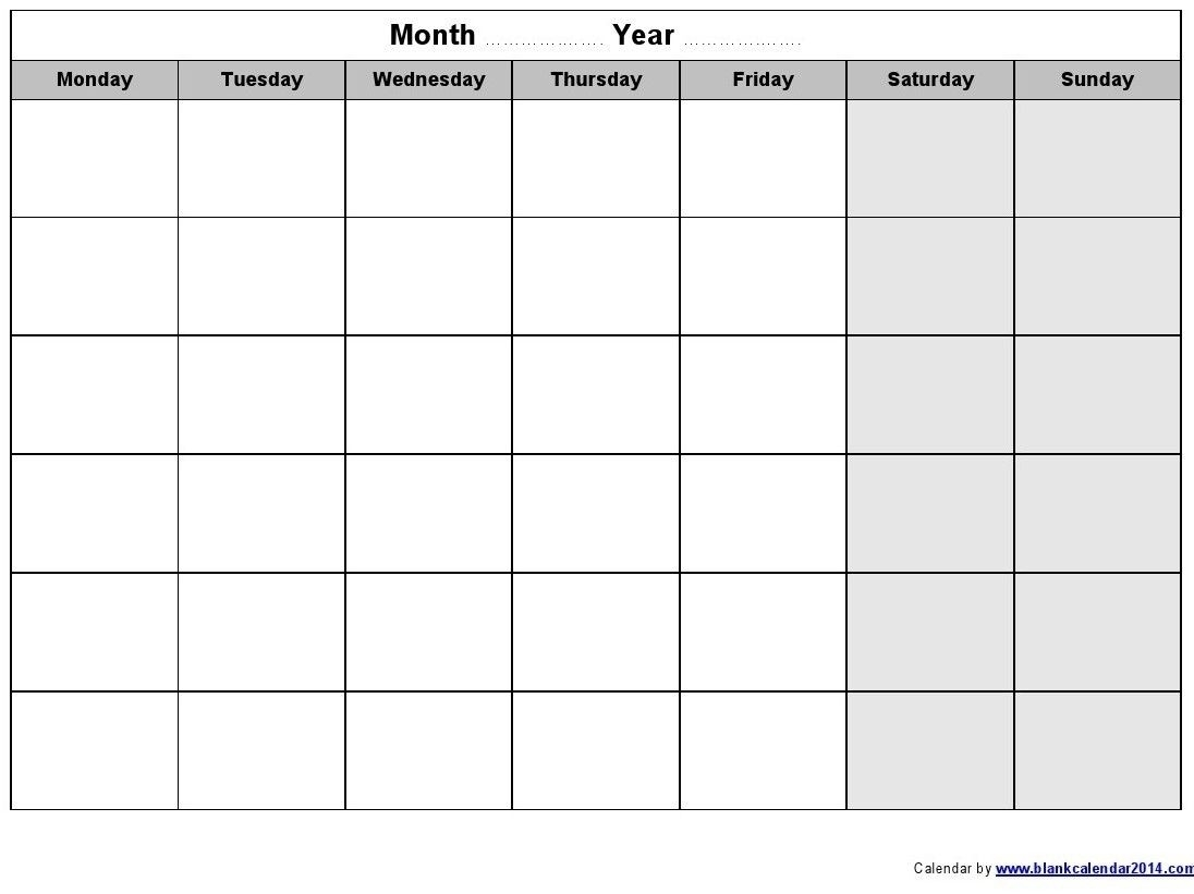 Perky Blank Calendar Monday Through Friday • Printable Blank-Blank Monday Through Friday Calendar