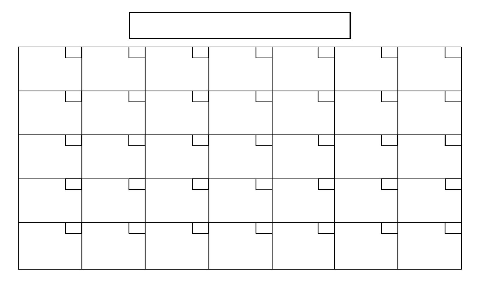 Perky Large Blank Calendar Grid • Printable Blank Calendar-Printable Blank Calendar Grid