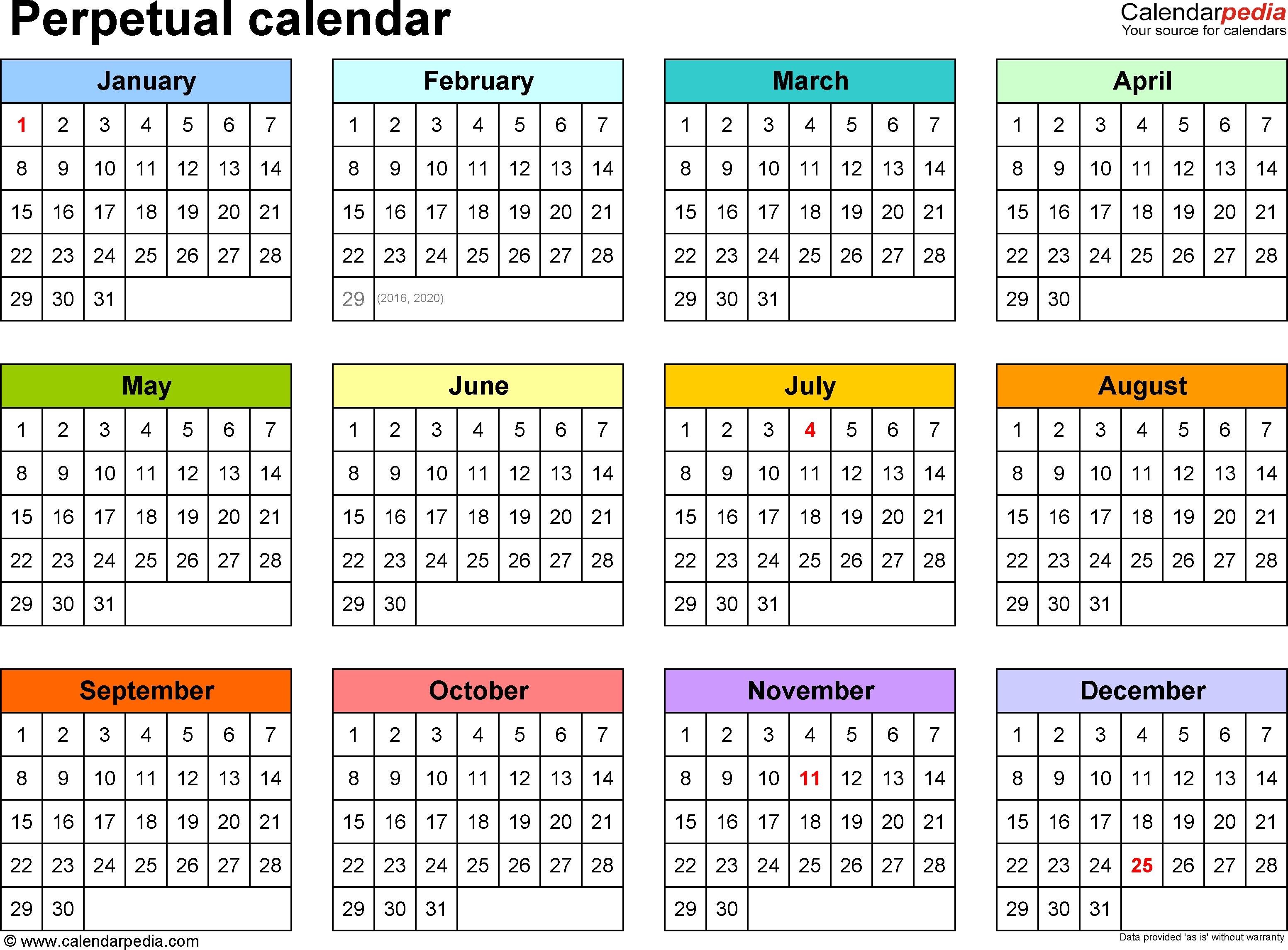Perpetual Calendars - 7 Free Printable Pdf Templates-Free Printable 4X6 Calendars 2020 Templates