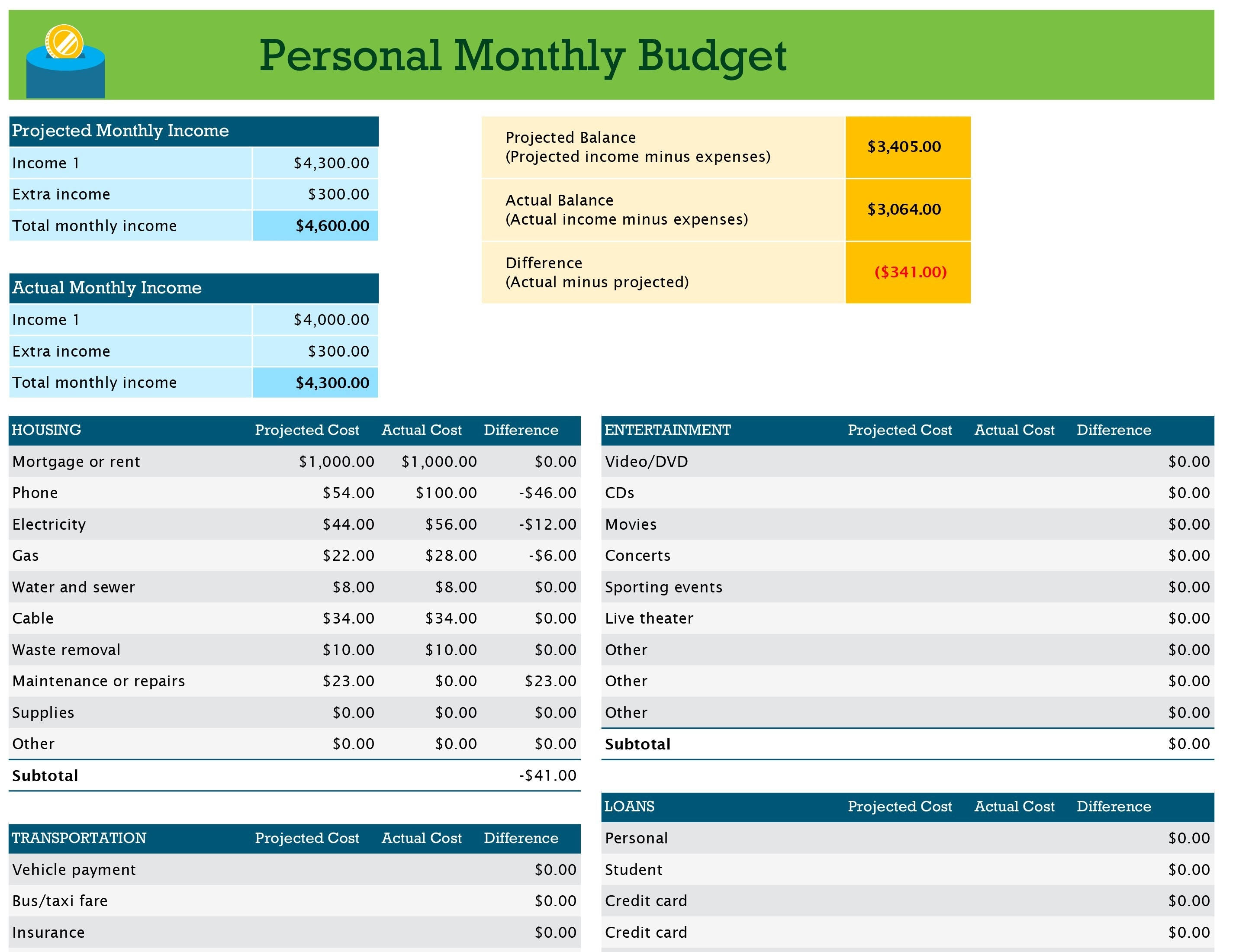 Personal Monthly Budget-Monthly Bill Planner Template