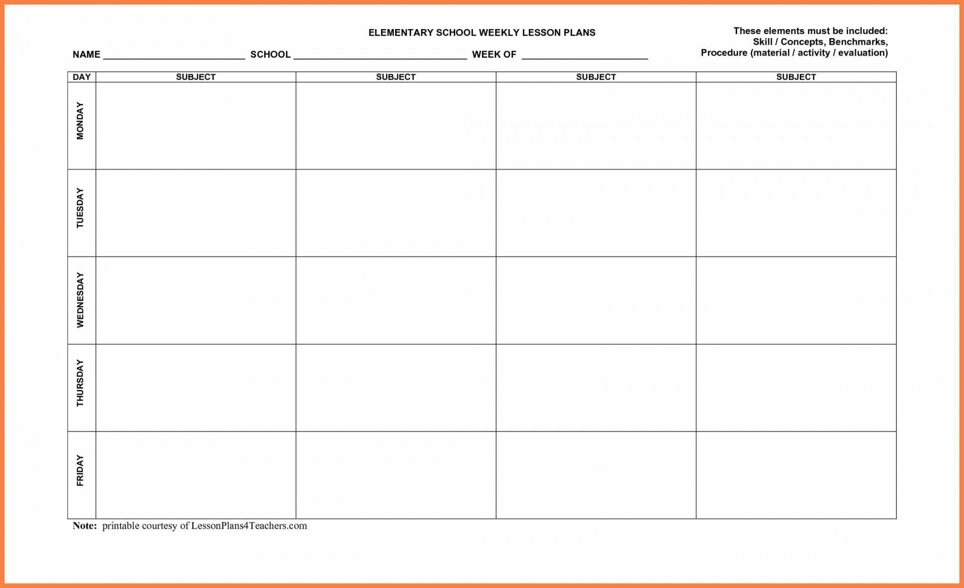 Phenomenal Blank Lesson Plan Template Pdf Templates Daily-Weekly Lesson Plan Blank Template