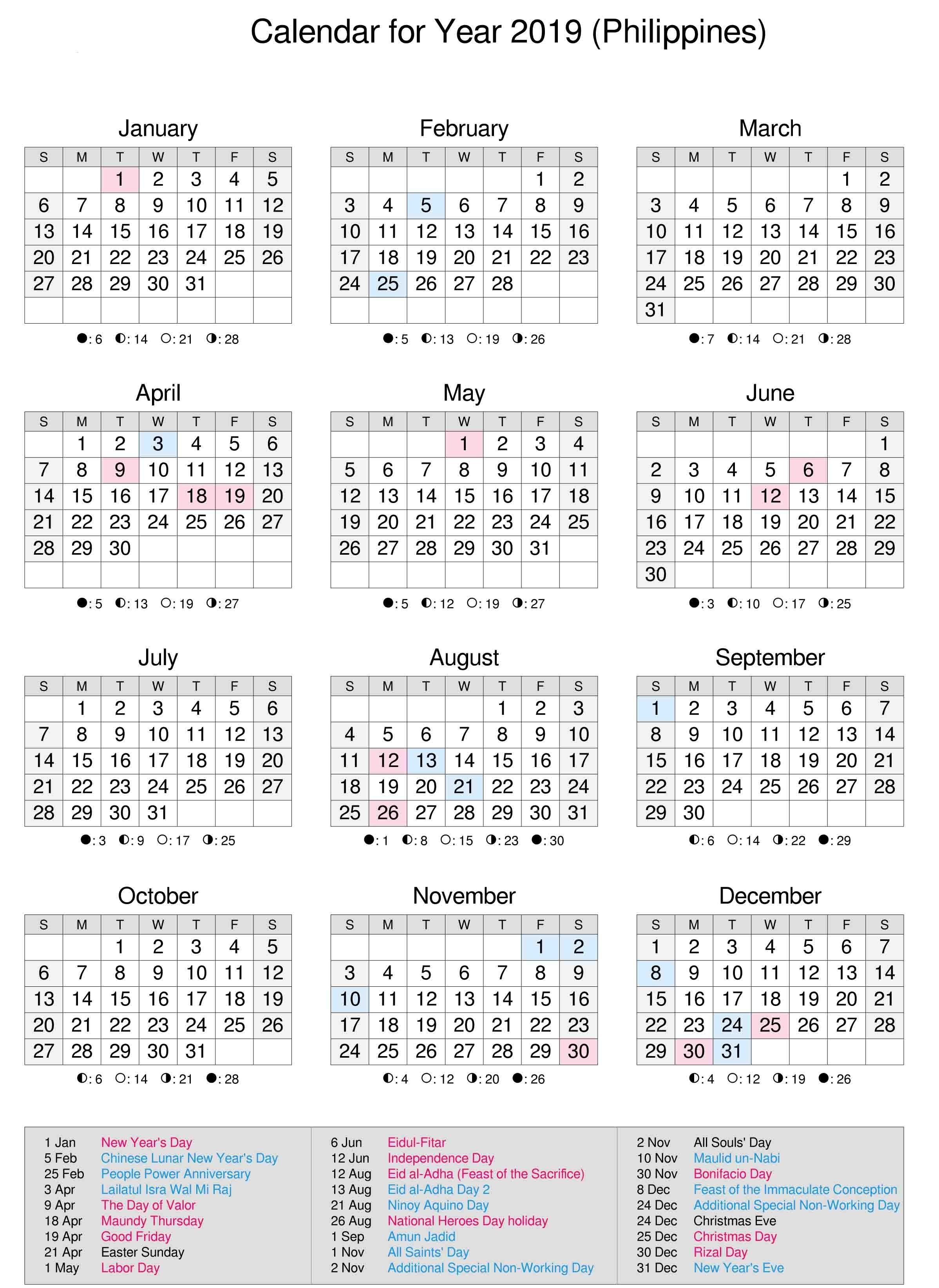 Philippines 2019 Calendar | Calendar 2019 | 2019 Calendar-Calendar Template With Philippine Holidays