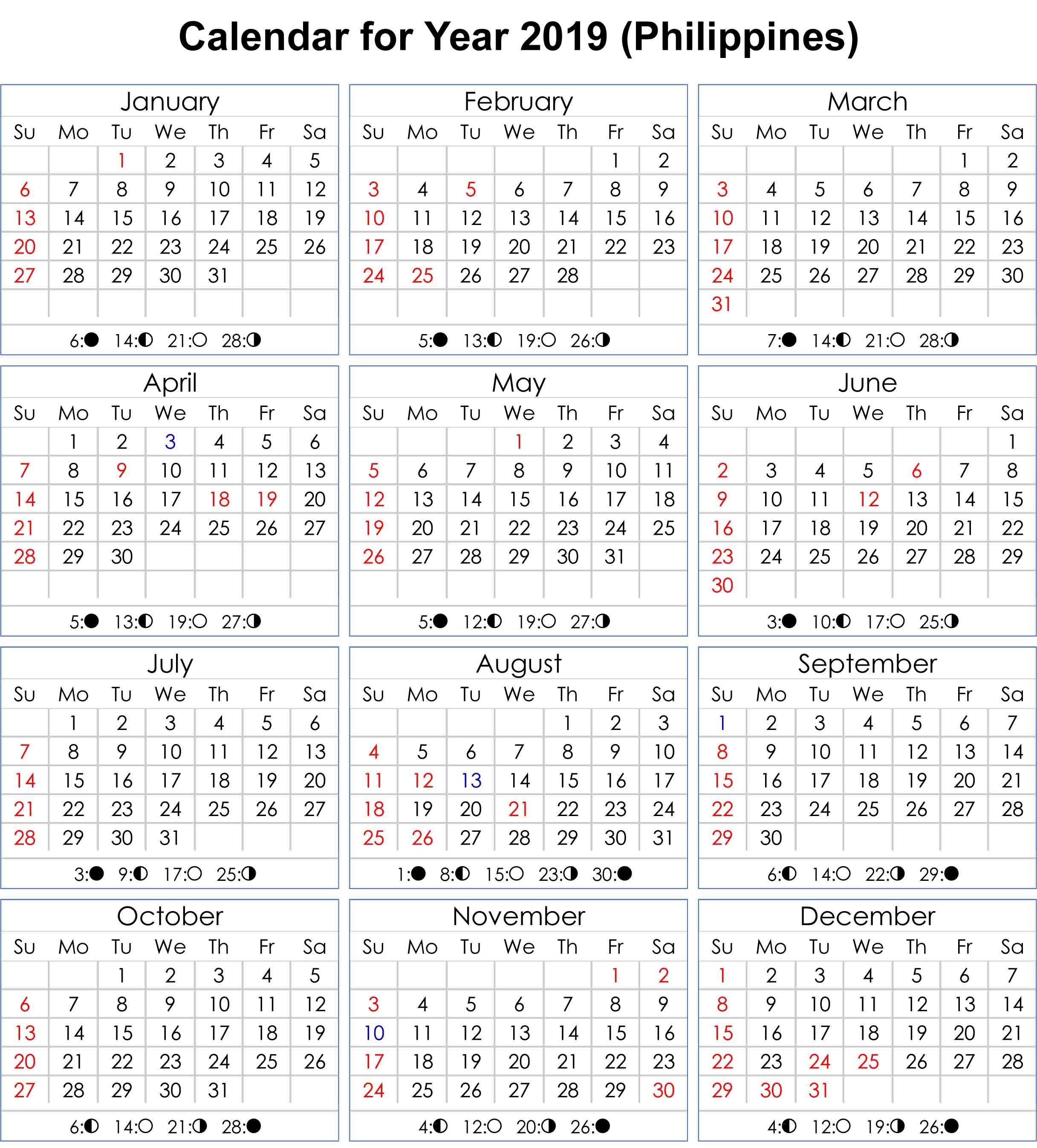 Philippines 2019 Calendar With Moon Phases | Calendar 2019-Template For Philippine Calendar 2020