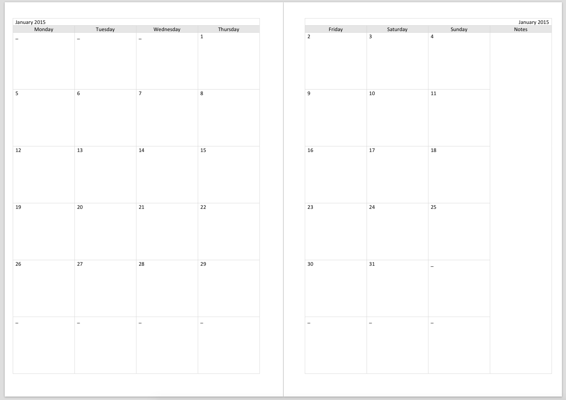 Philofaxy: Diary Inserts-A4 Monthly Calendar Template Print Over 2 Pages Monday Start Free
