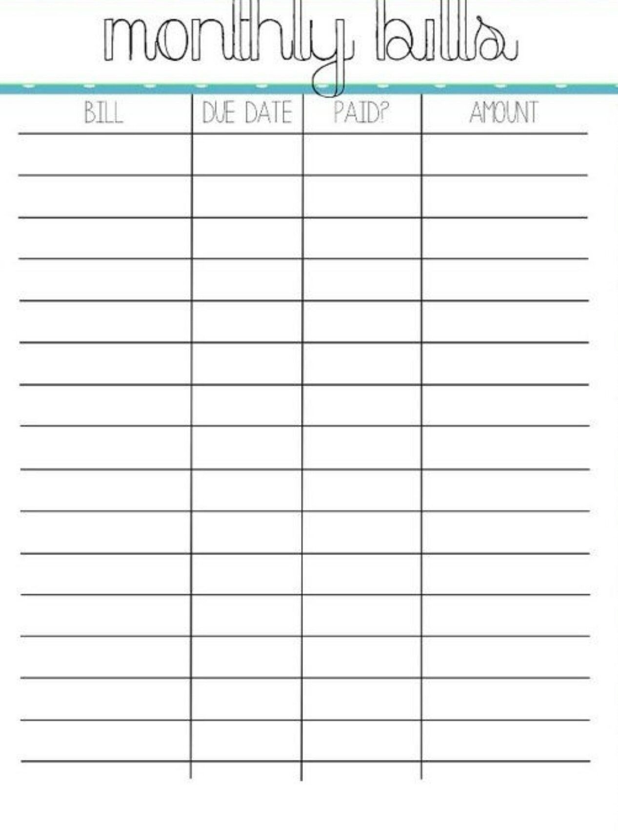 Pin By Crystal On Bills | Organizing Monthly Bills, Bill-Monthly Bill Chart Printable Free
