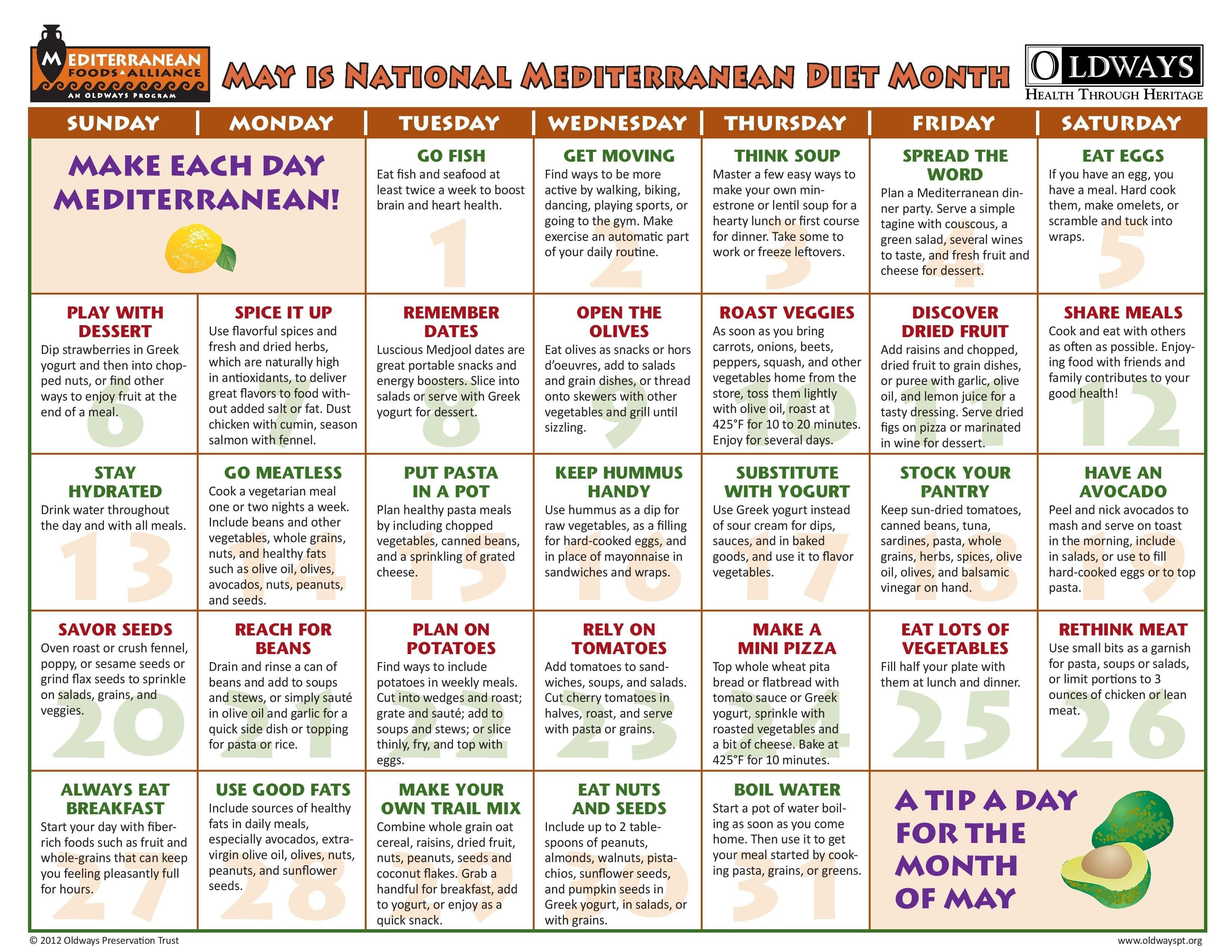 Pin By Mary Cook On Me Recipes In 2019 | Mediterranean Diet-Calander Of Monthly Food Days