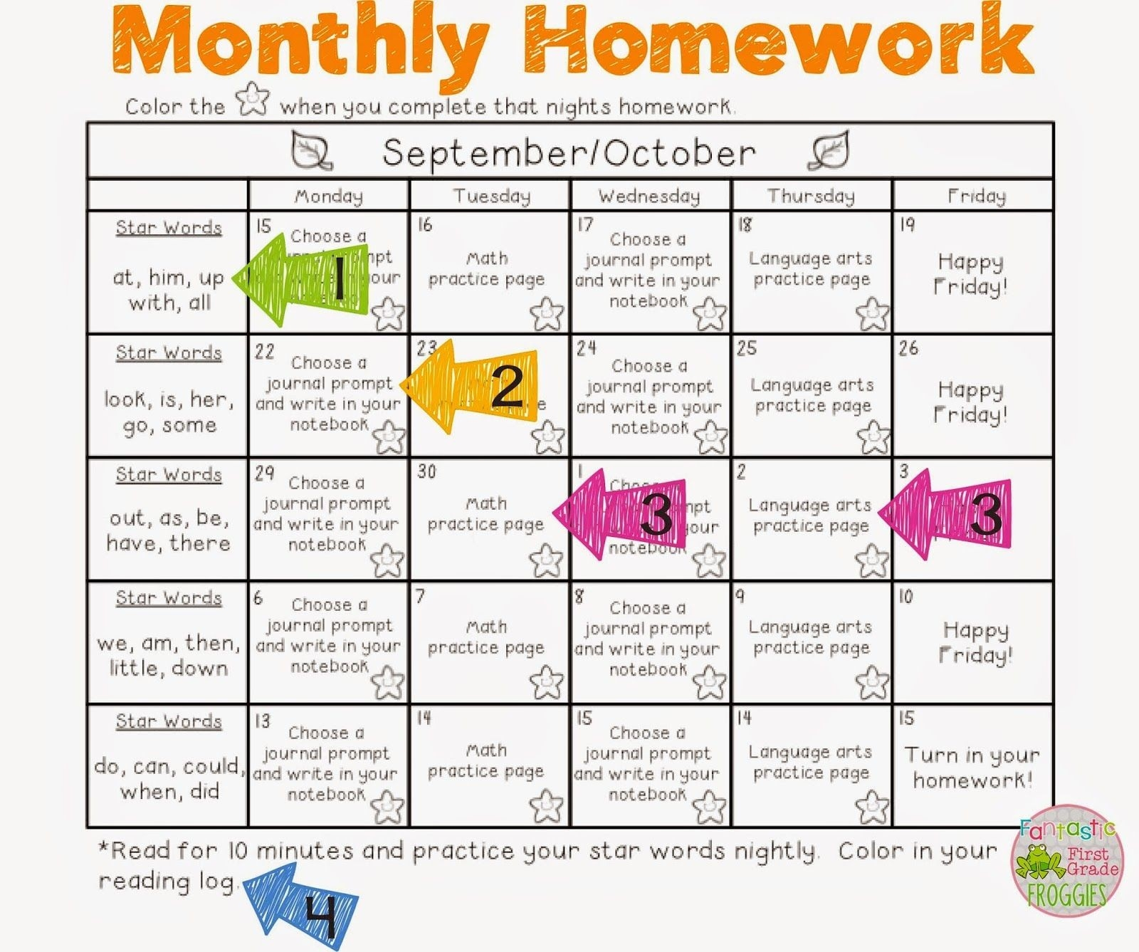 Monthly Homework For Pre-K Students | Calendar Template ...