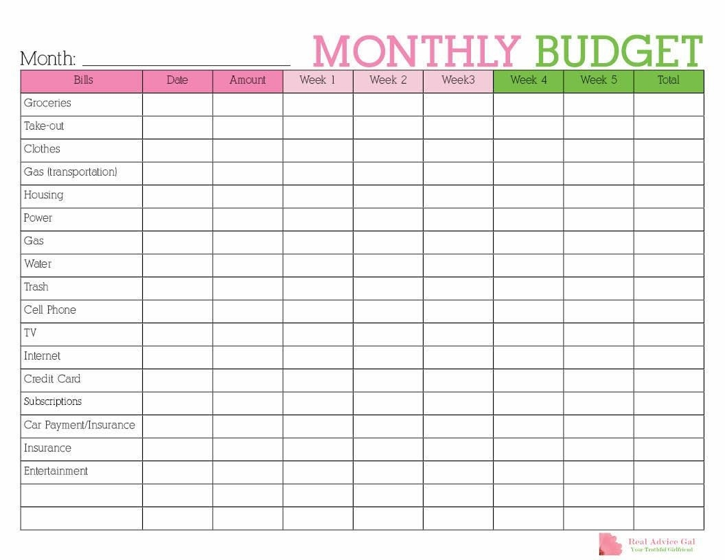 Pin On Real Advice Gal-Monthly Bill Planner Template