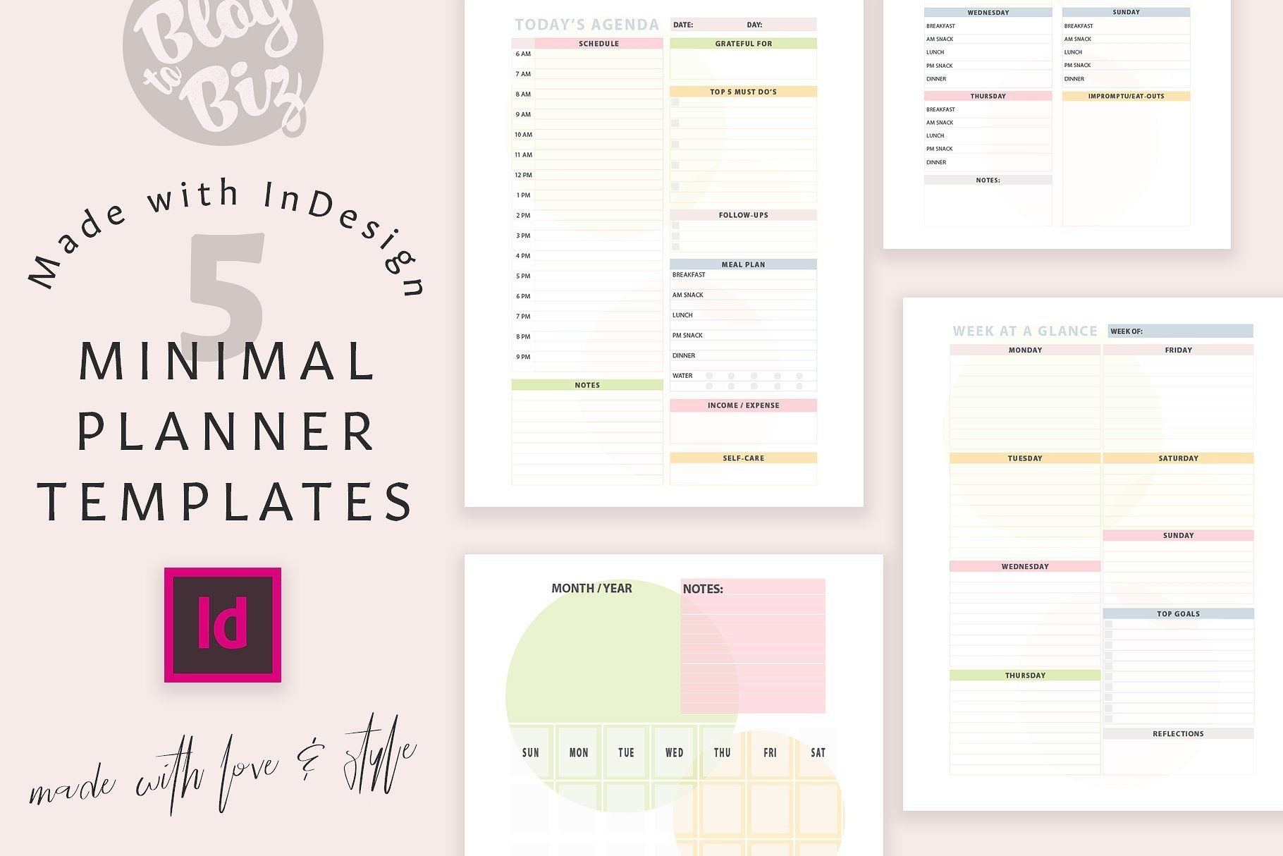 Planner Templates With Indesign By Blog To Biz On-Planner Templates For Indesign