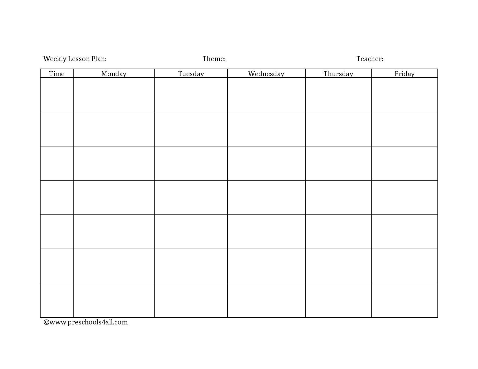 Preschool Lesson Plan Template - Lesson Plan Book Template-Weekly Lesson Plan Blank Template
