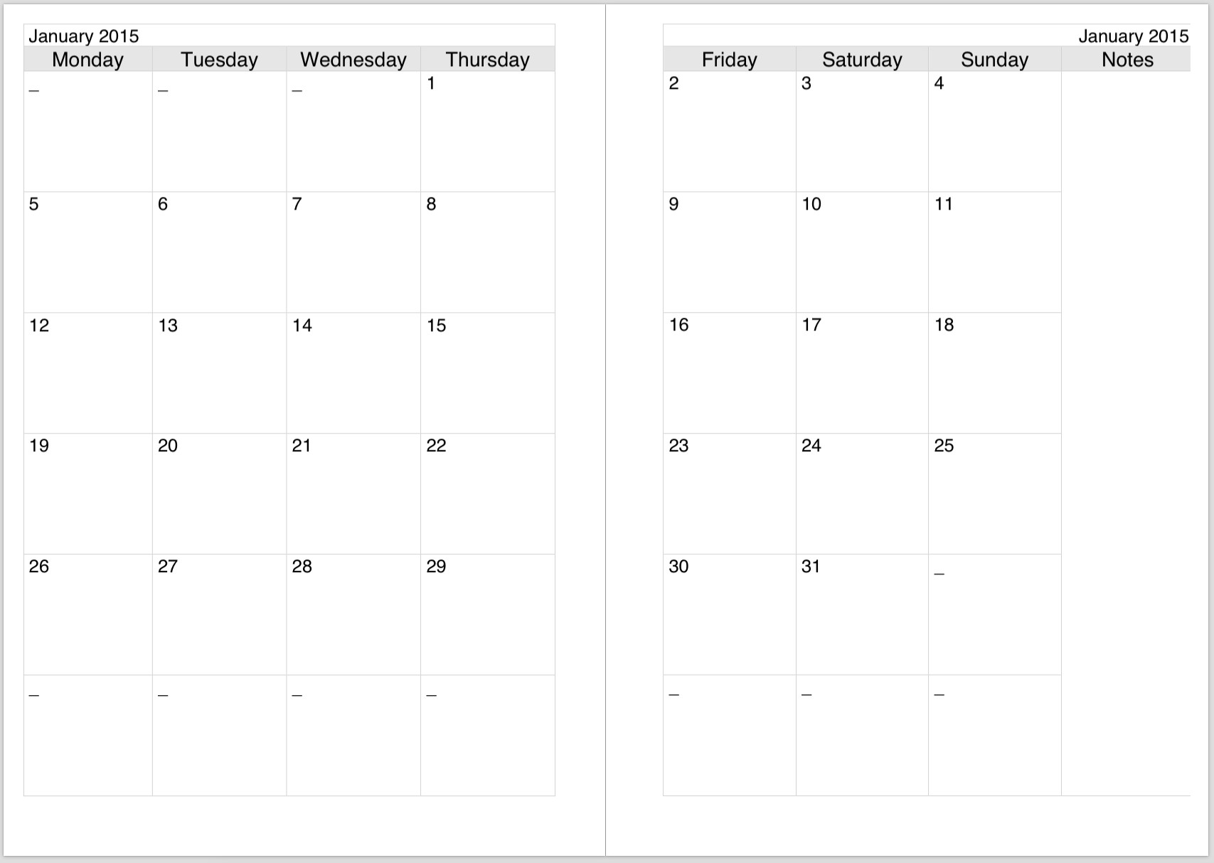 Preview2 For Two Page Monthly Calendar Template - Free-Printable 2 Page Monthly Calendar Template
