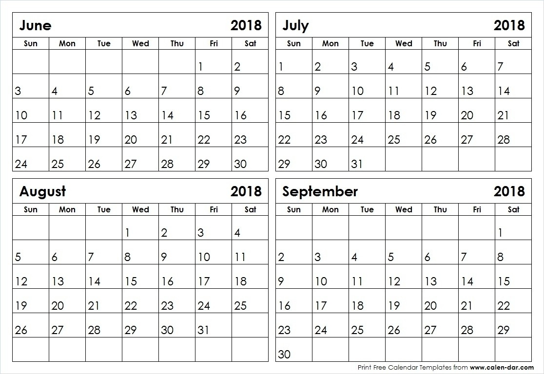 Prime 4 Month Calendar June July August September * Calendar-Blank Callendar For June July Aug And Sept