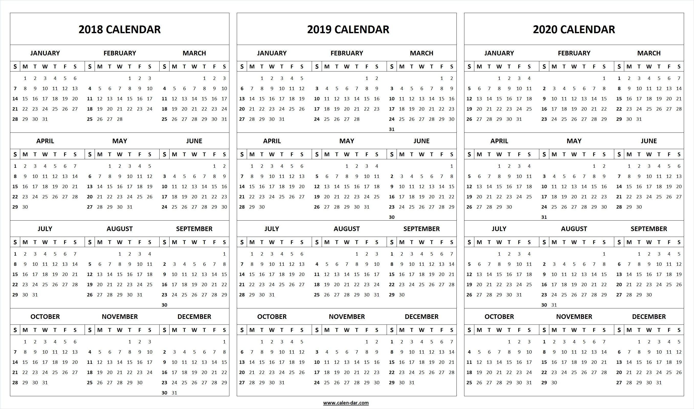 Print Blank 2018 2019 2020 Calendar Template | Organize-Blank 2 Pages Calendar 2020