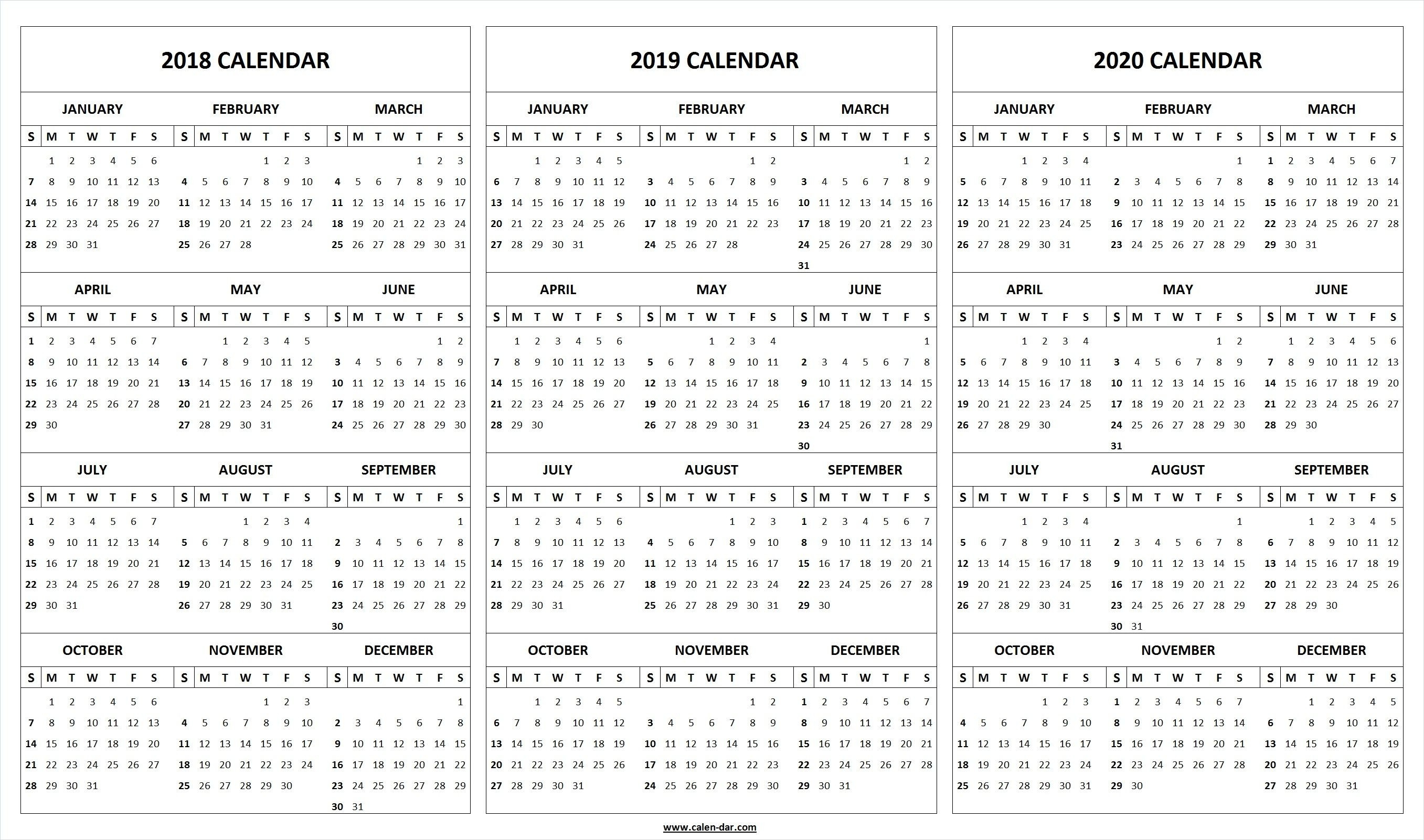 Print Blank 2018 2019 2020 Calendar Template | Organize-Blank Printable Calandes With 2 Months On A Page Year 2020
