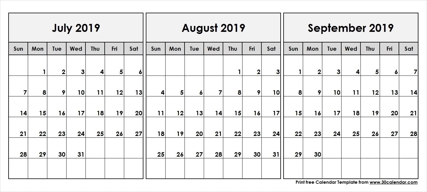 Print Calendar July August September 2019   Ten Free-June July August Monthly Calendar Print