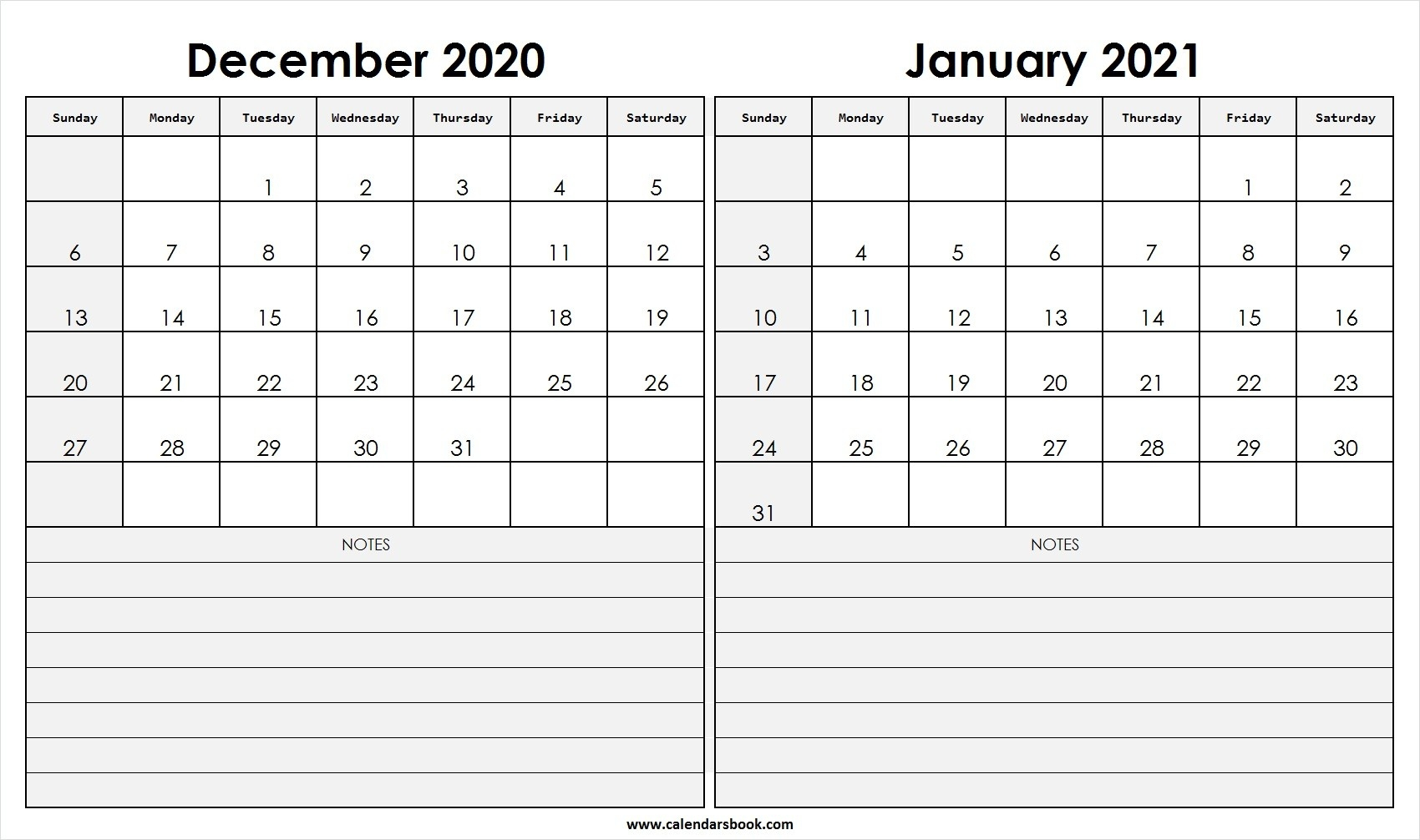 Print December 2020 January 2021 Calendar Template | 2 Month-December 2020 And January 2021 Calendar