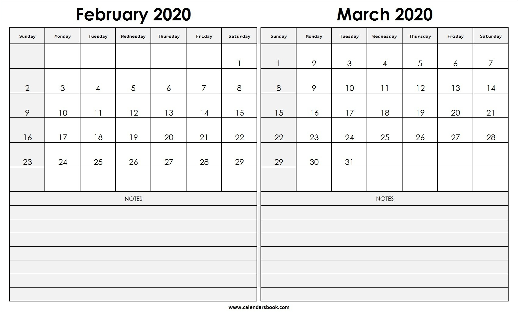 Print February March 2020 Calendar Template | 2 Month Calendar-January February March 2020 Calendar