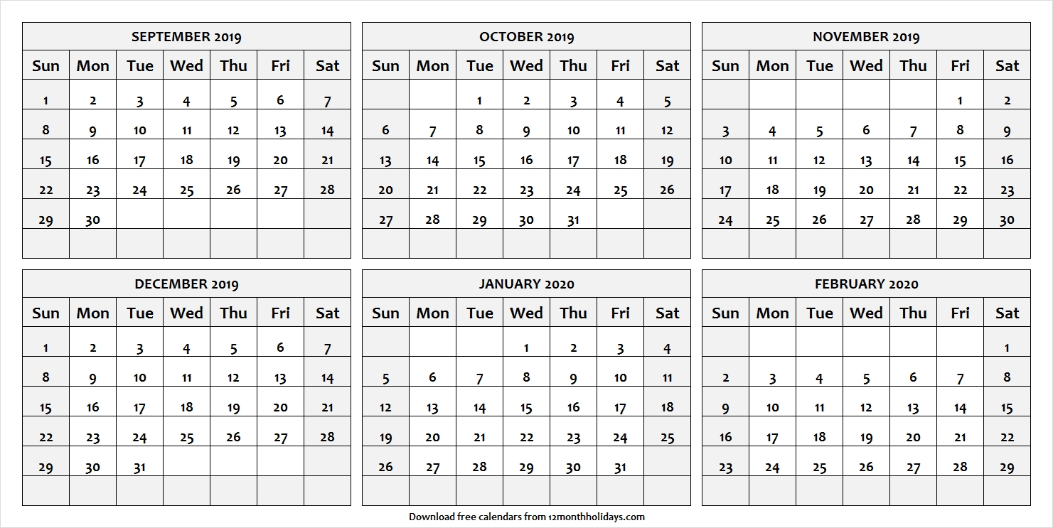 Print Free 6 Month Calendar September To February 2020 With-2020 Six Month Calendar Template