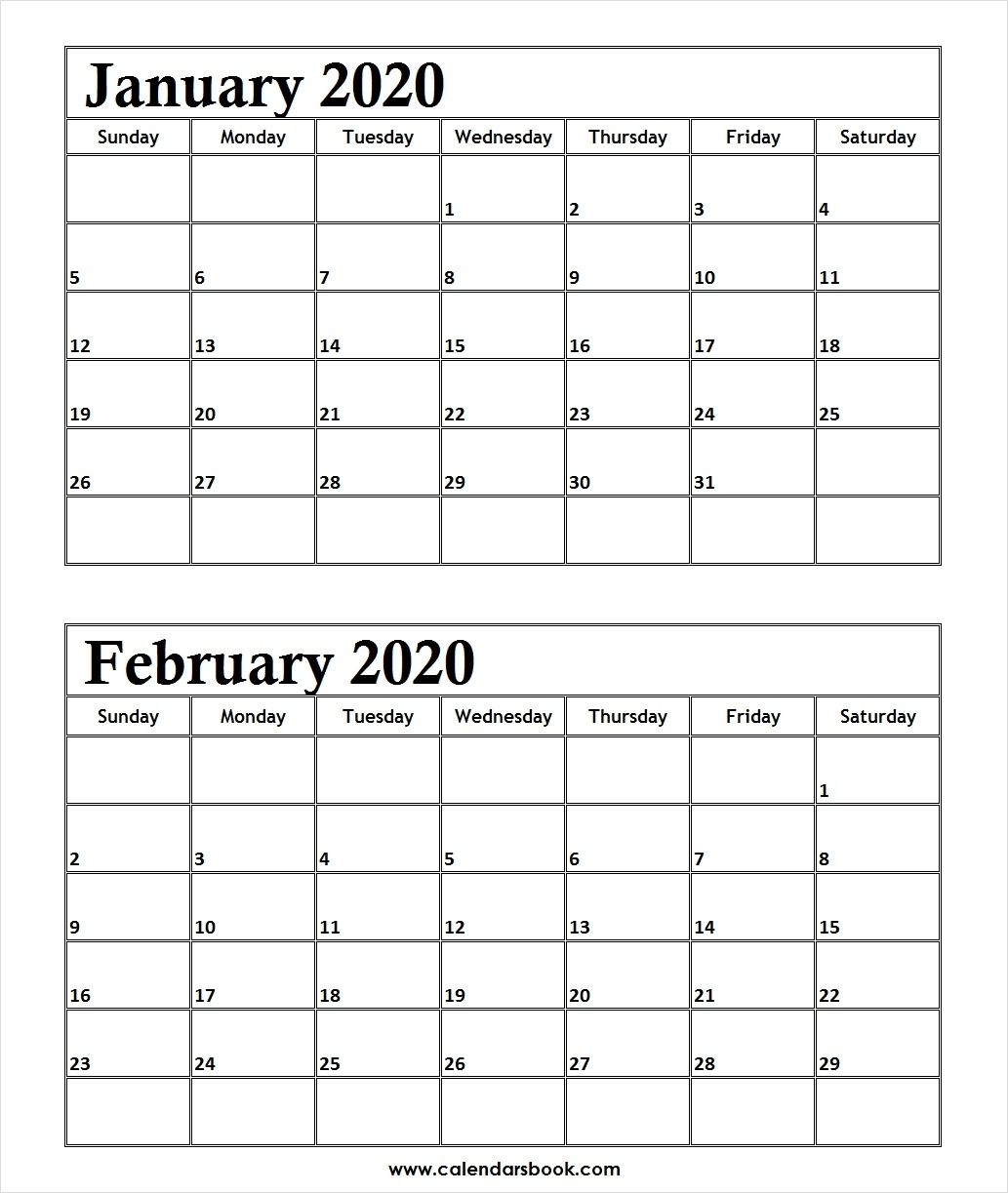 Print January February 2020 Calendar Template | 2 Month Calendar-2020 Calendar January And February