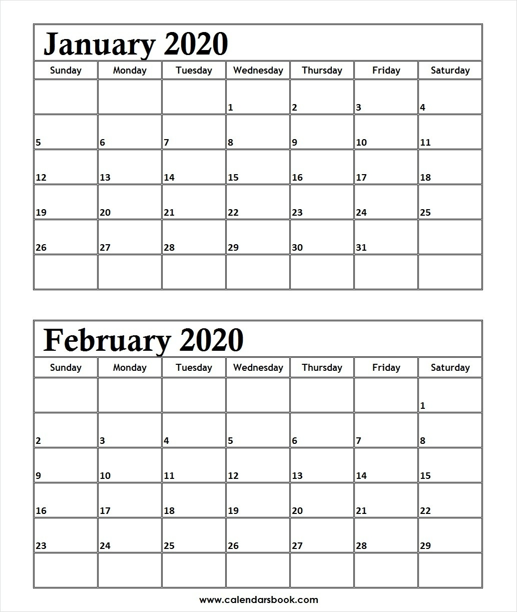 Print January February 2020 Calendar Template | 2 Month Calendar-Calendar Of January And February 2020