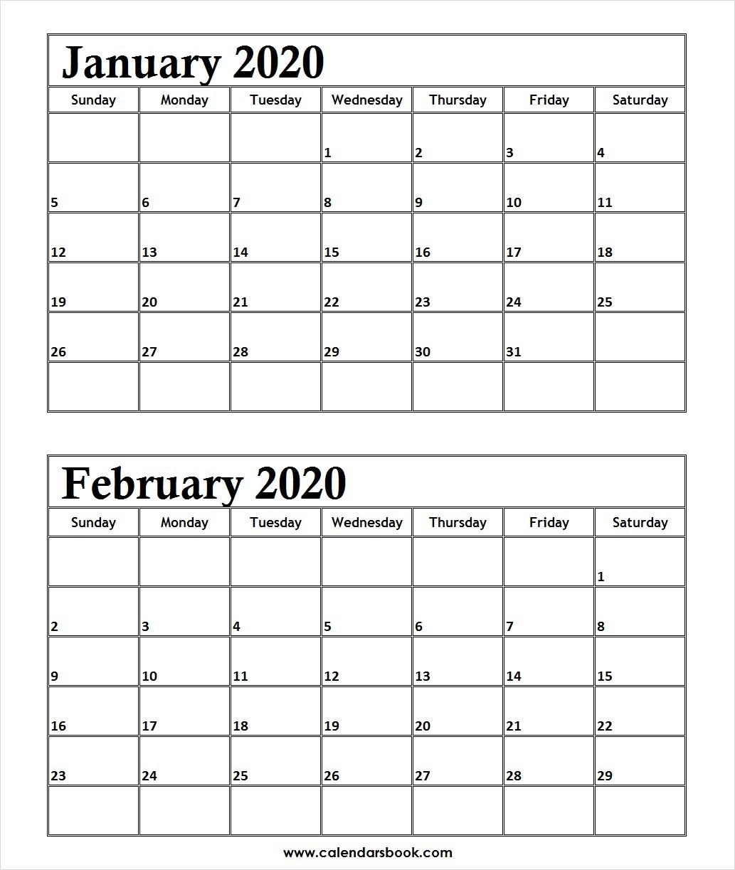 Print January February 2020 Calendar Template | 2 Month Calendar-January And February 2020 Calendar
