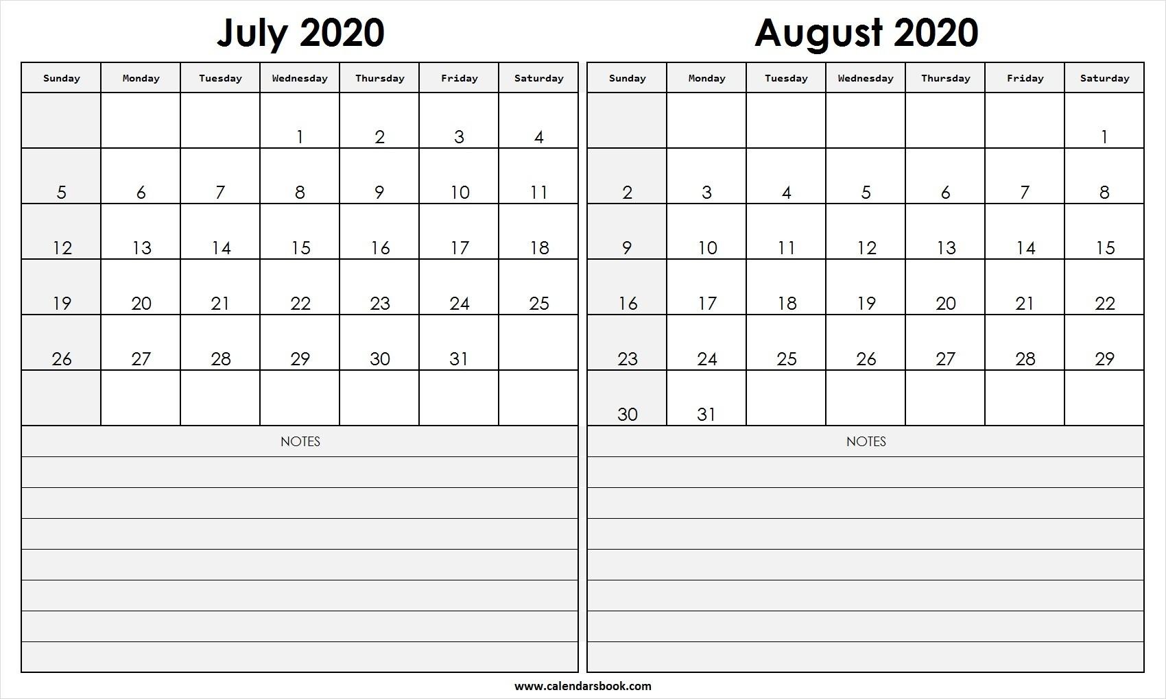 Print July August 2020 Calendar Template | 2 Month Calendar-Blank Printable Calendar July And August 2020