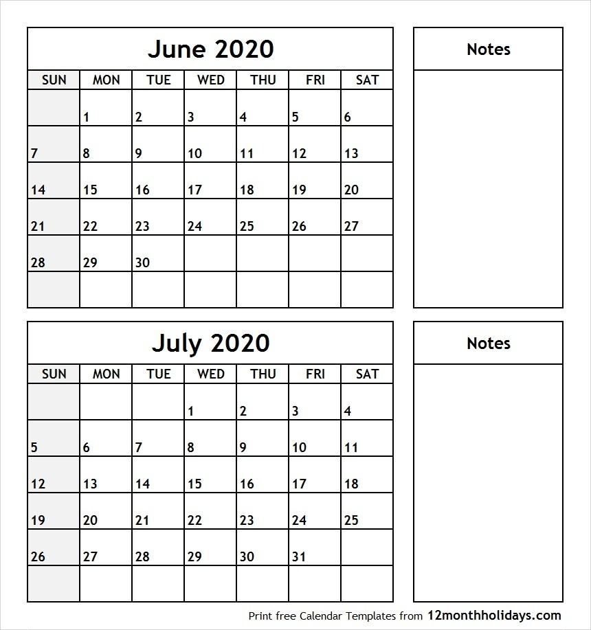 Print June July 2020 Calendar Template | 2 Month Calendar-Print Off Monthly Calender For June And July 2020