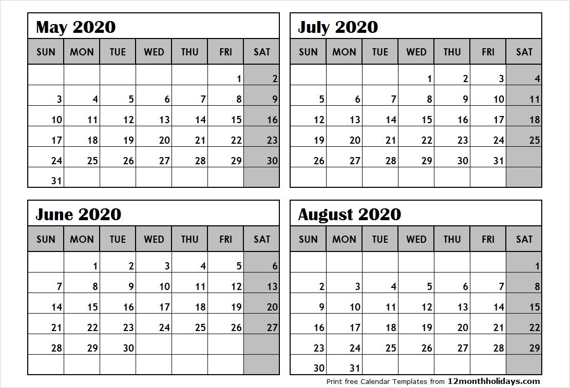 Print May To August 2020 Calendar Template | 4 Month Calendar-4 Month Blank Calendar Template