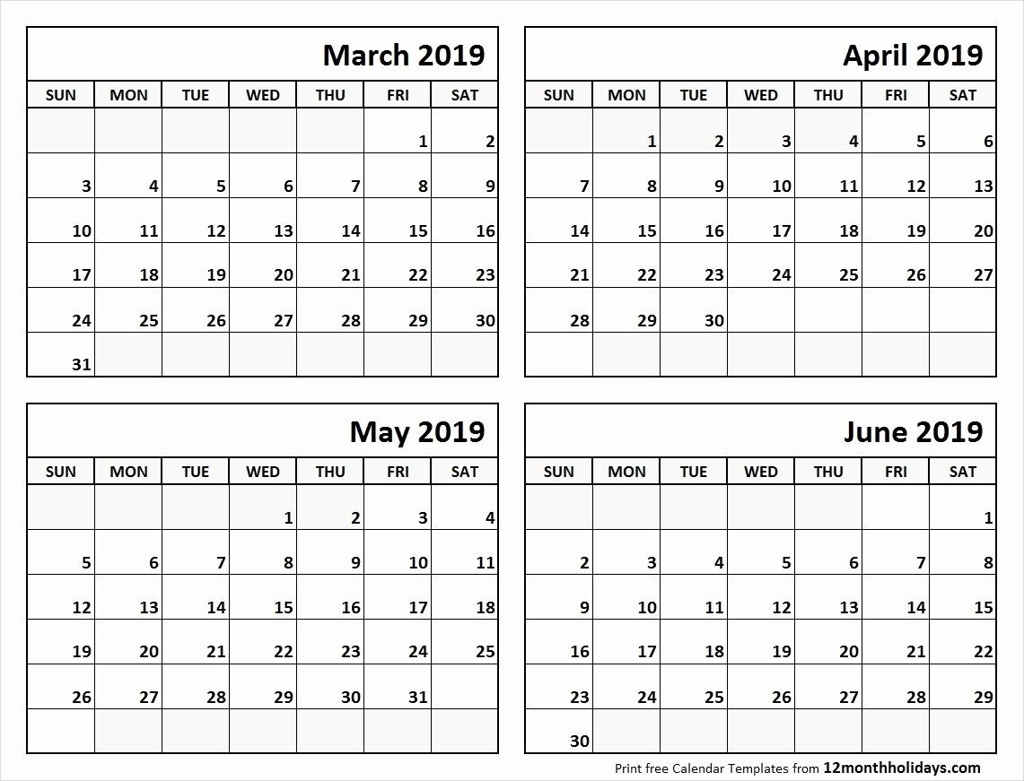 Printable 2019 Calendar 4 Months Per Pge 2019 Calendar-Blank Calendar Printable 4 Per Page