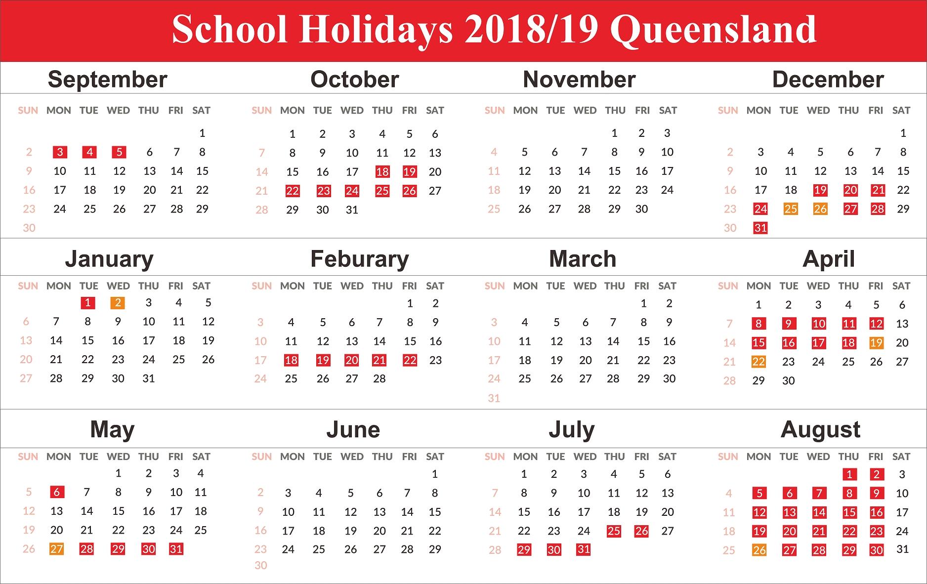 Printable 2019 Calendar With Qld School Holidays | Create-2020 Qld School Holidays Printable