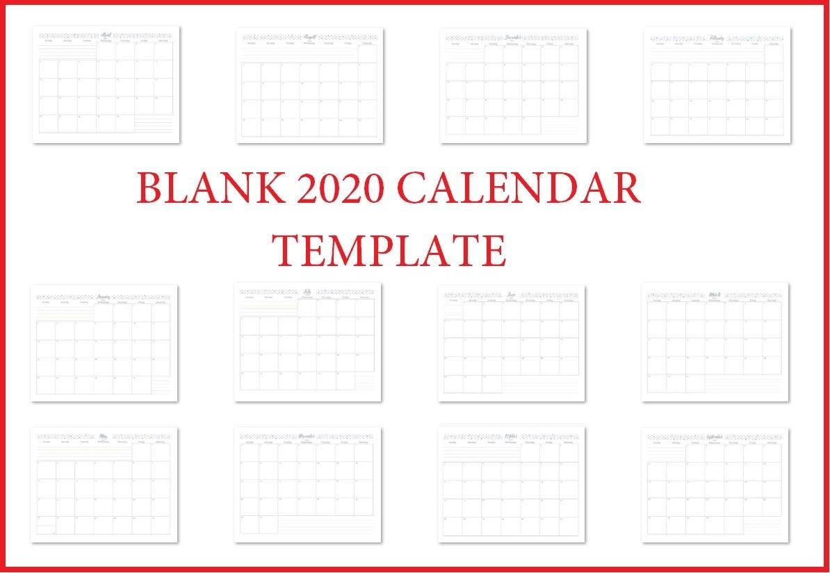 Printable 2020 Blank Calendar Templates | Calendar 2020-Blank Fill In Calendars 2020 Printable