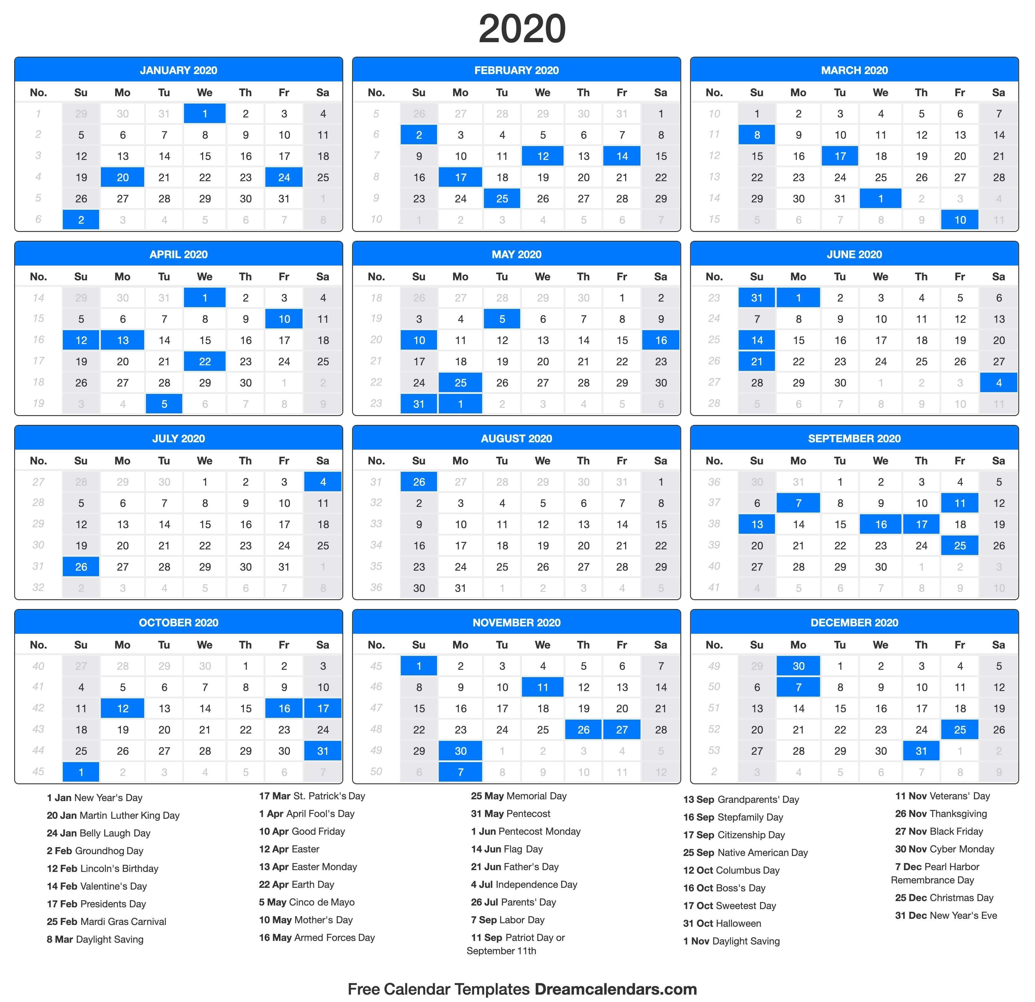 Printable 2020 Calendar - Dream Calendars-2020 Calendar With Holidays Usa Printable Year In Advance