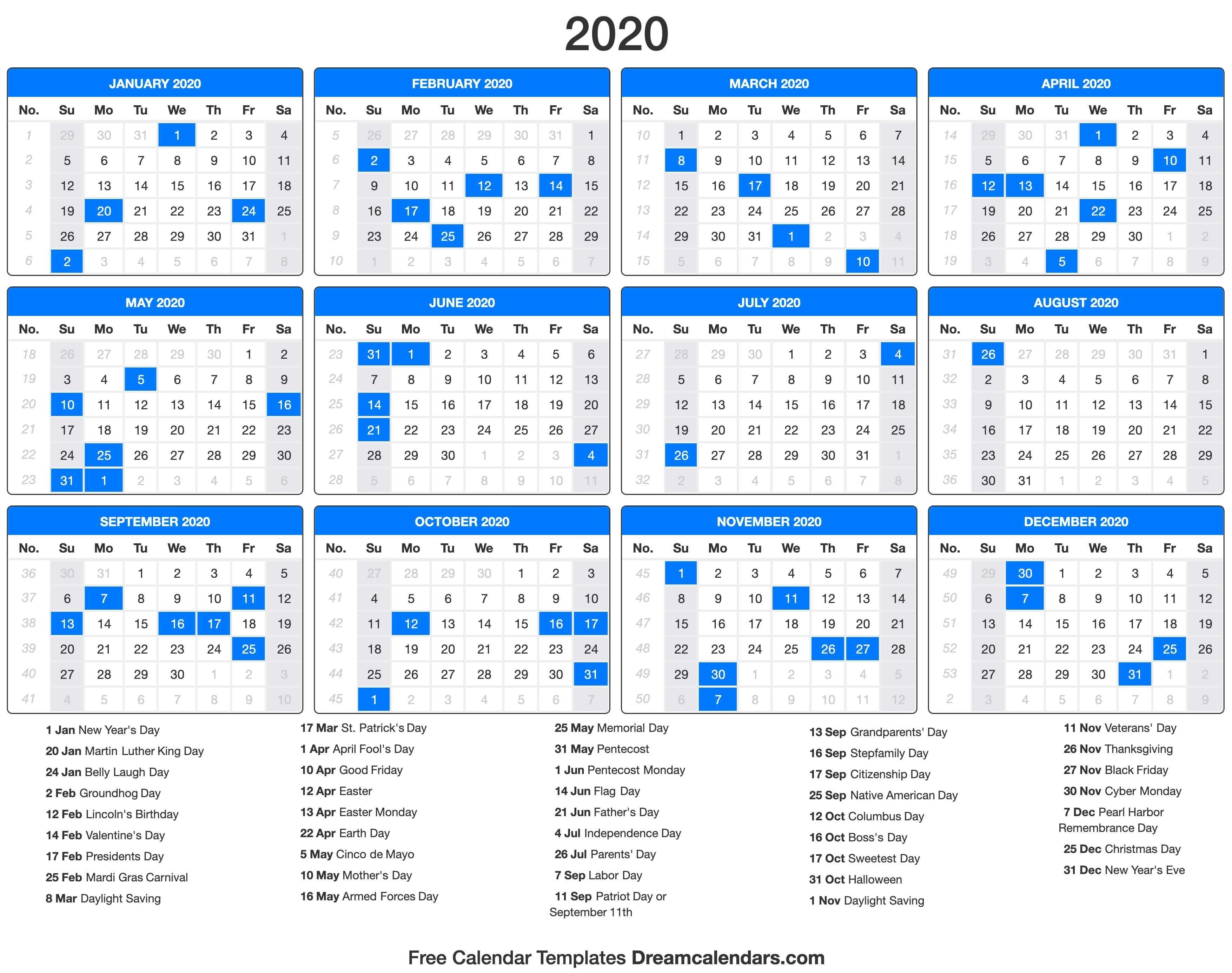Printable 2020 Calendar - Dream Calendars-2020 Calendar With Holidays