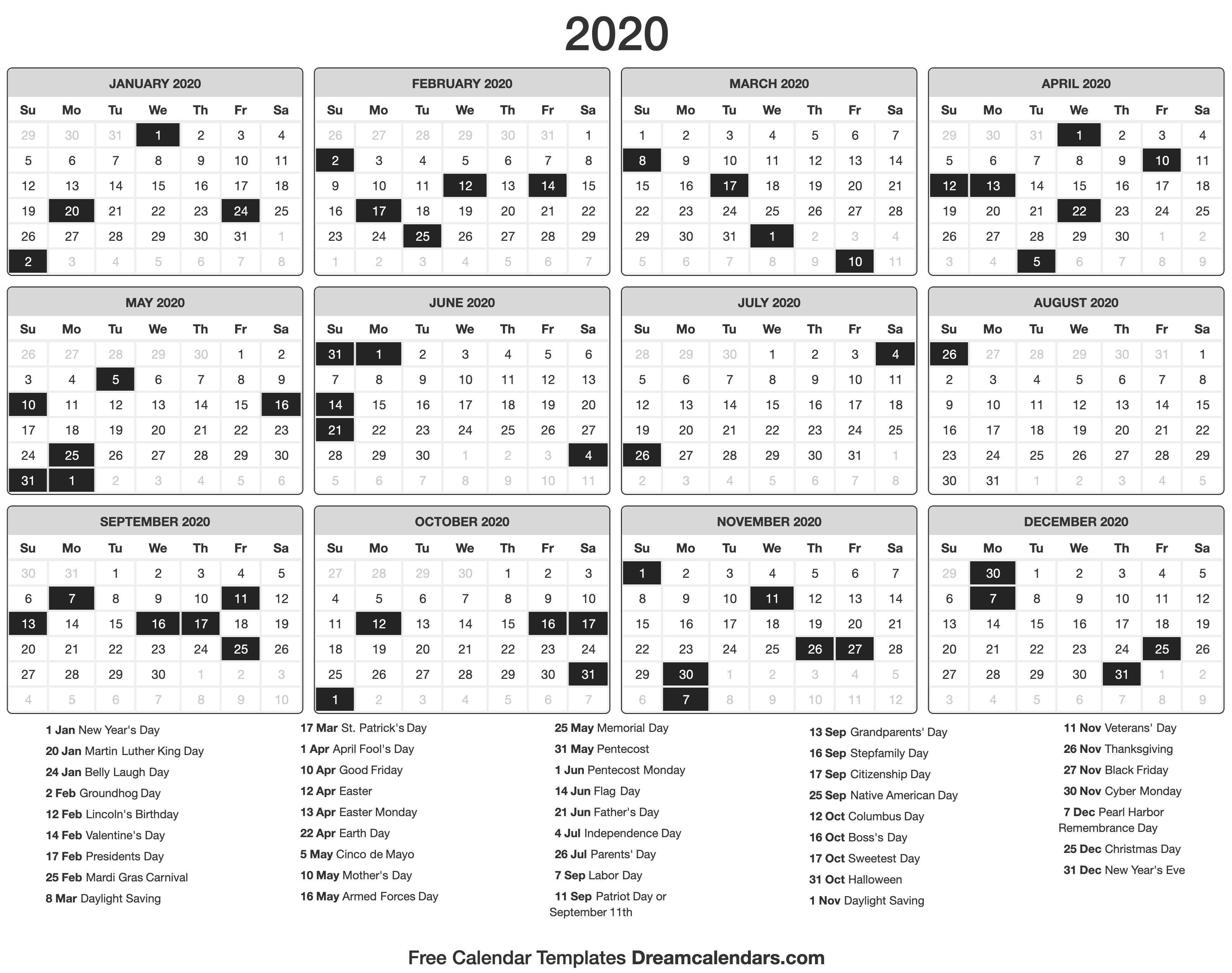 Printable 2020 Calendar - Dream Calendars-Calendar 2020 Printable Holidays Special