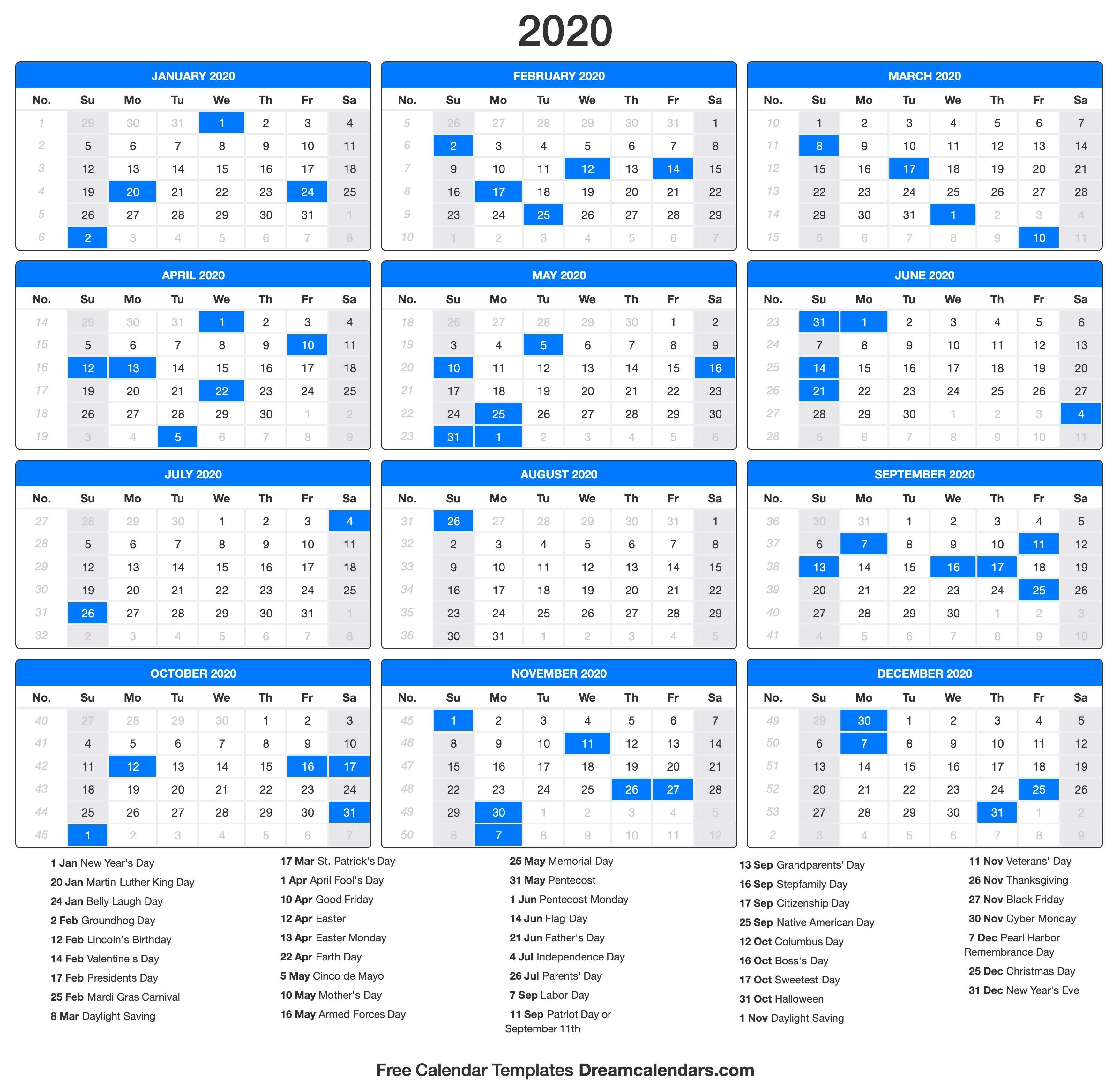 Printable 2020 Calendar - Dream Calendars-Calendar 2020 With Us Holidays Printable