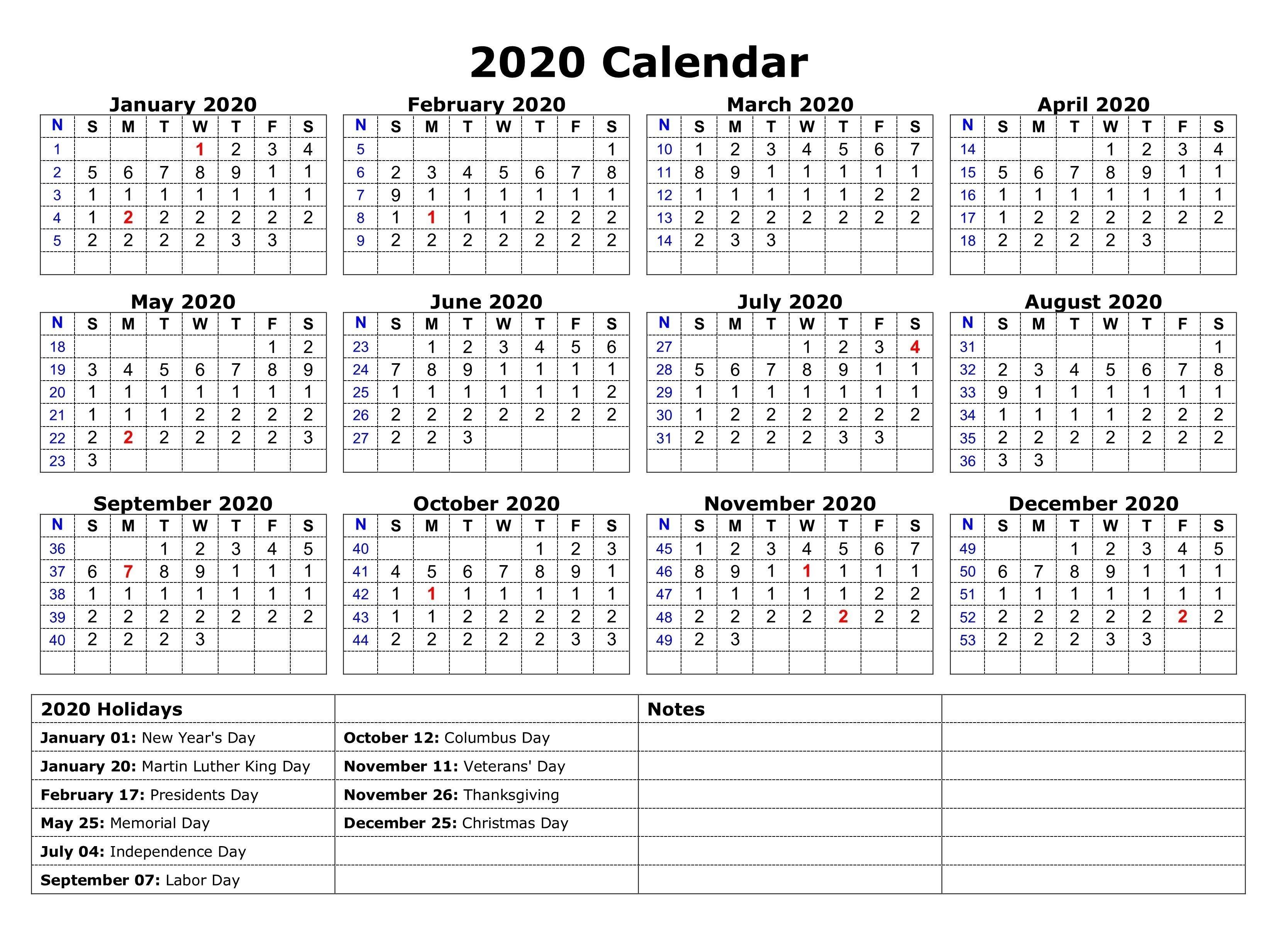 Printable 2020 One Page Holidays Calendar | 2020 Calendars-Calendar 2020 Printable Holidays Special