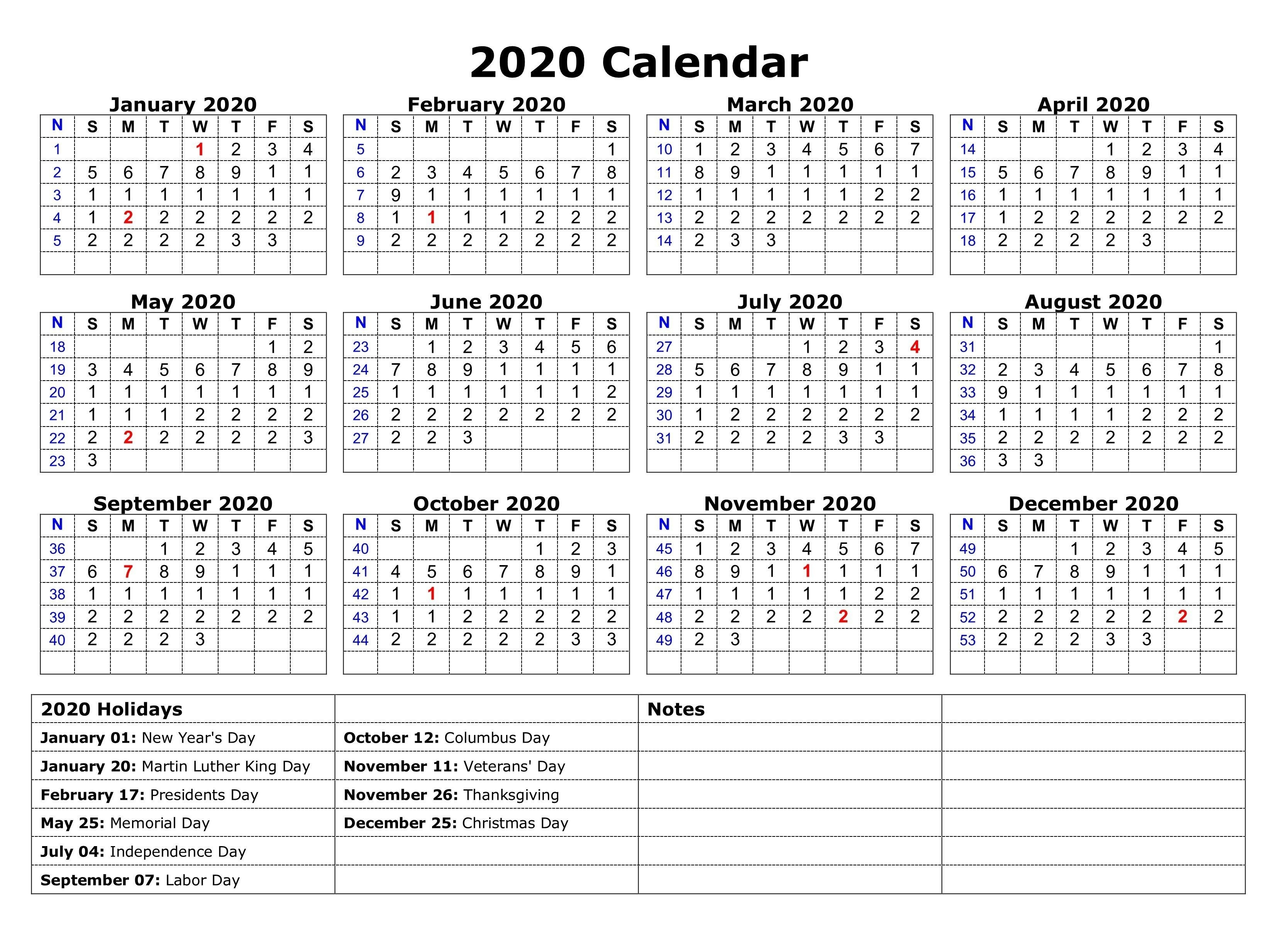 Printable 2020 One Page Holidays Calendar | 2020 Calendars-Calendar 2020 With Us Holidays Printable