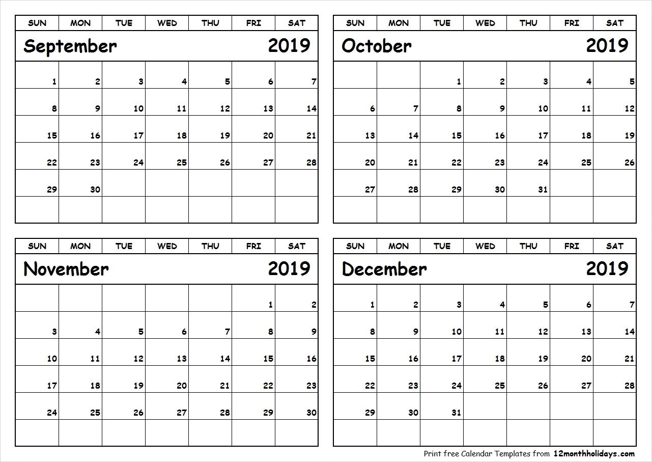 Printable 4 Month Calendar September To December 2018-4 Month Blank Calendar Template