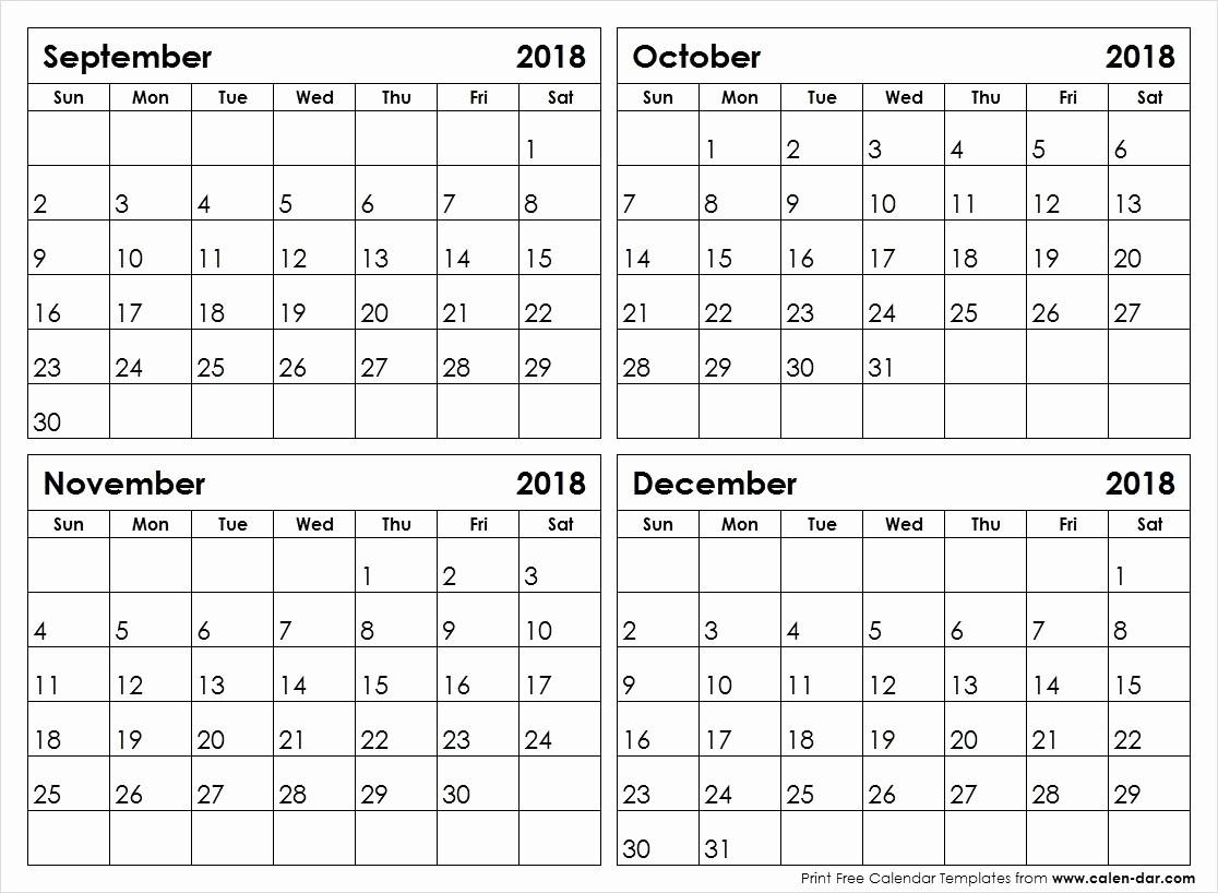 Printable 4 Month Calendar September To December 2018-Calendar Template 4 Months Per Page