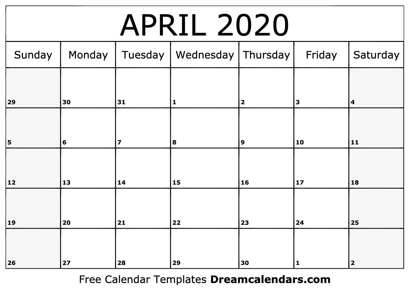 Printable April 2020 Calendar-Fill In Calendar April 2020 Template